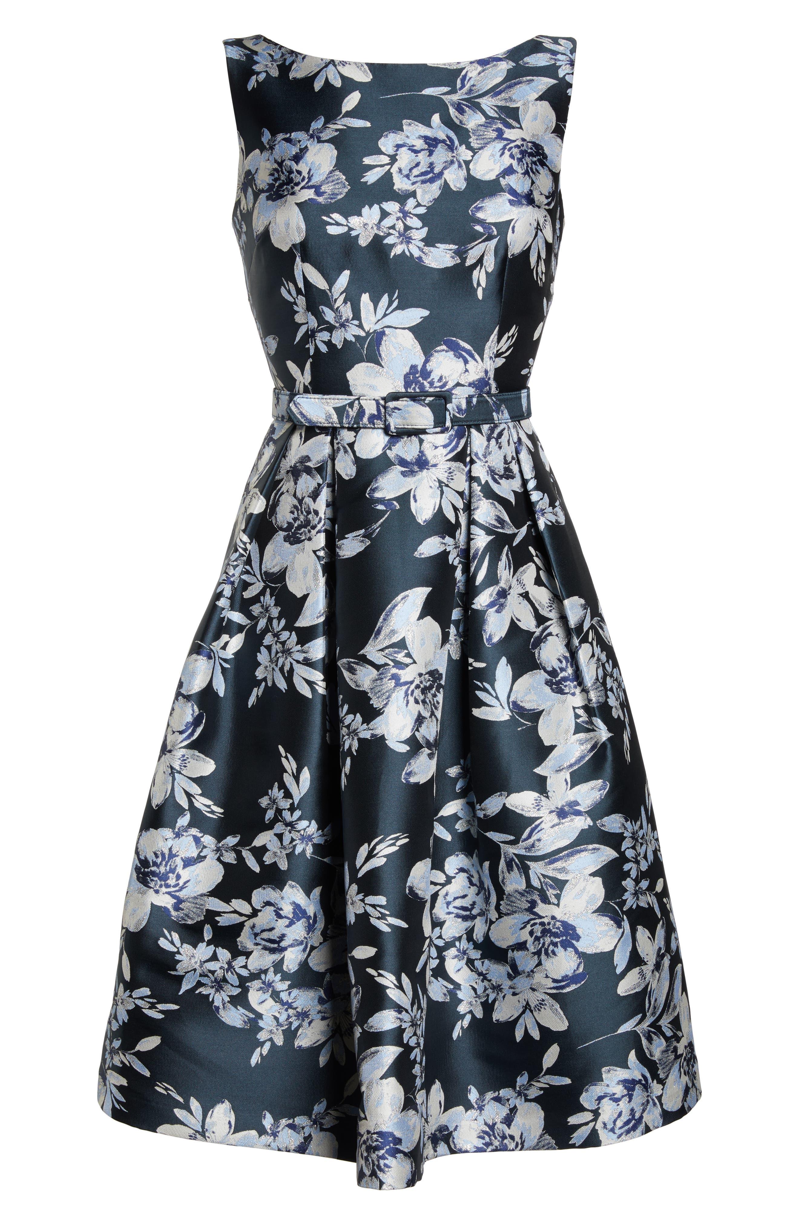 ELIZA J, Metallic Floral Belted Fit & Flare Dress, Alternate thumbnail 7, color, NAVY