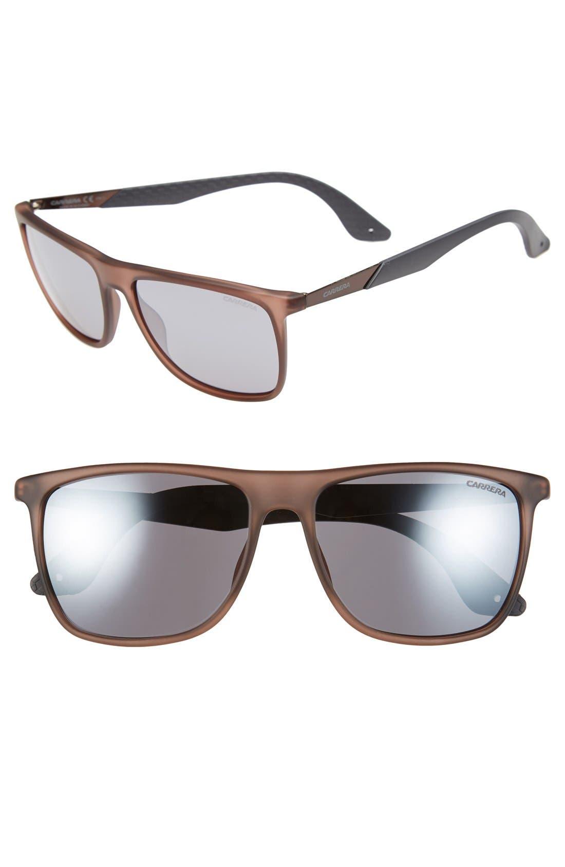 CARRERA EYEWEAR, 56mm Retro Sunglasses, Main thumbnail 1, color, MATTE BROWN/ GREY FLASH MIRROR