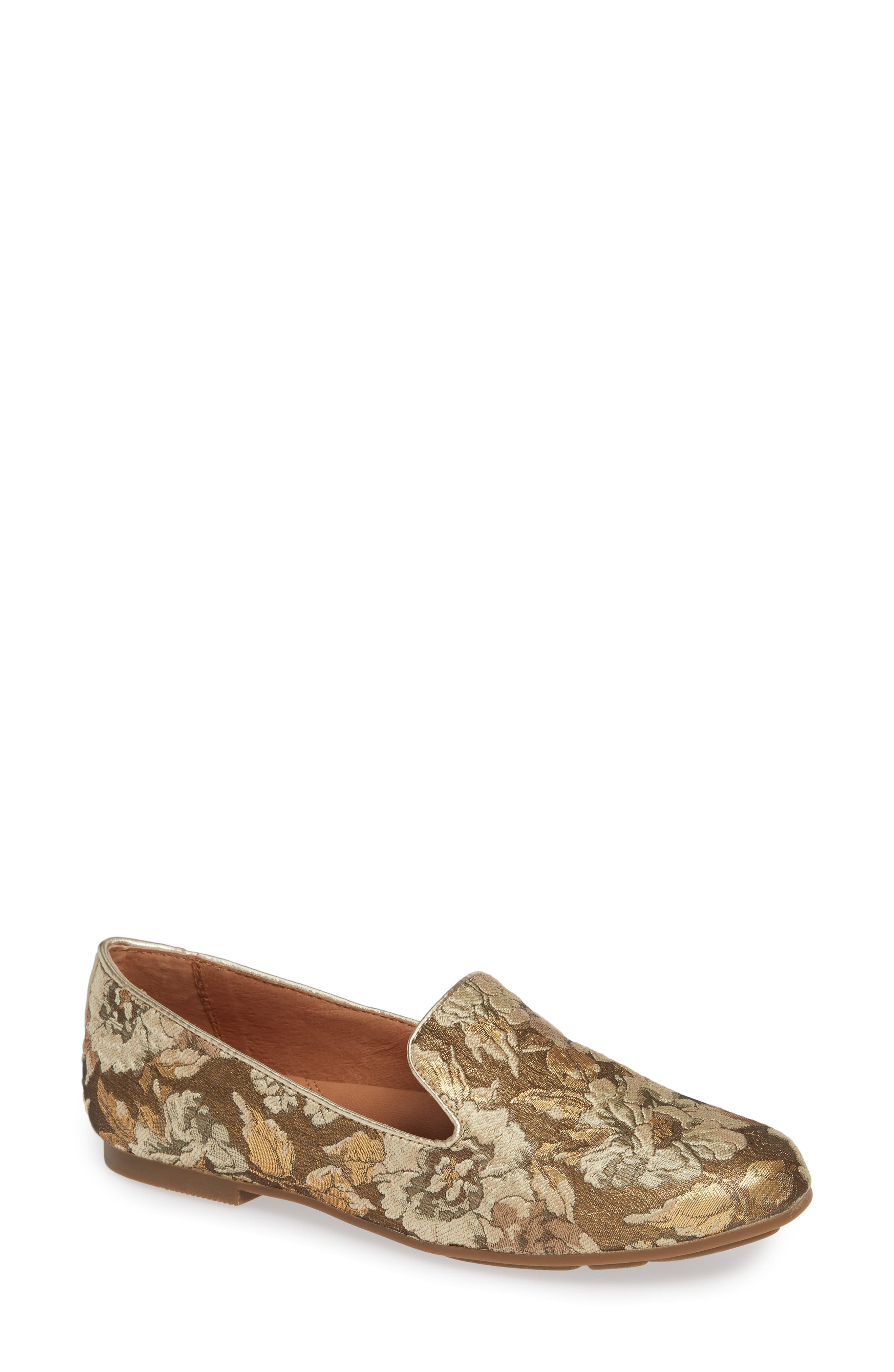 GENTLE SOULS BY KENNETH COLE, Eugene Flat, Main thumbnail 1, color, GOLD MULTI FABRIC