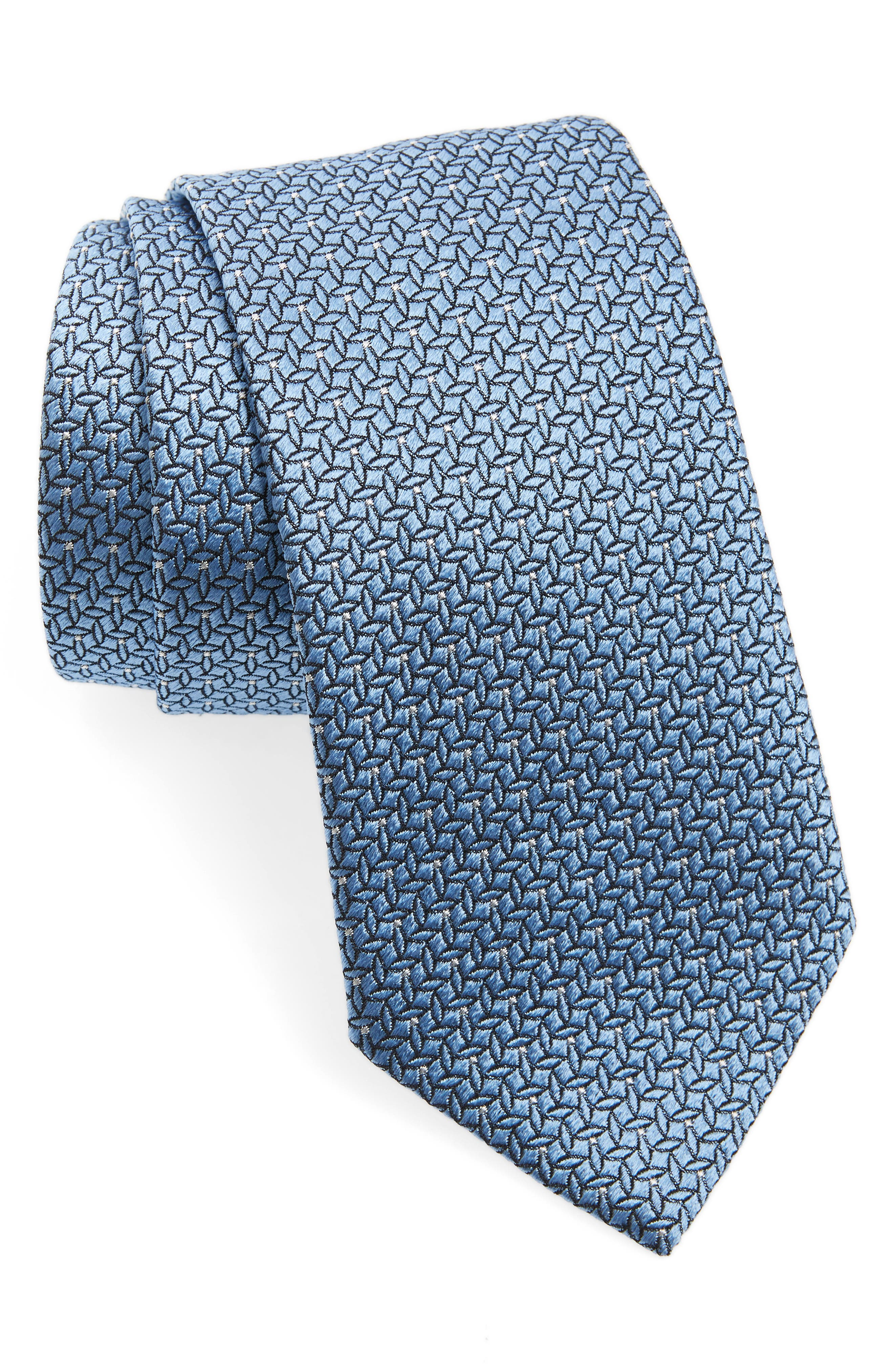 EMPORIO ARMANI, Geometric Silk Tie, Main thumbnail 1, color, 424
