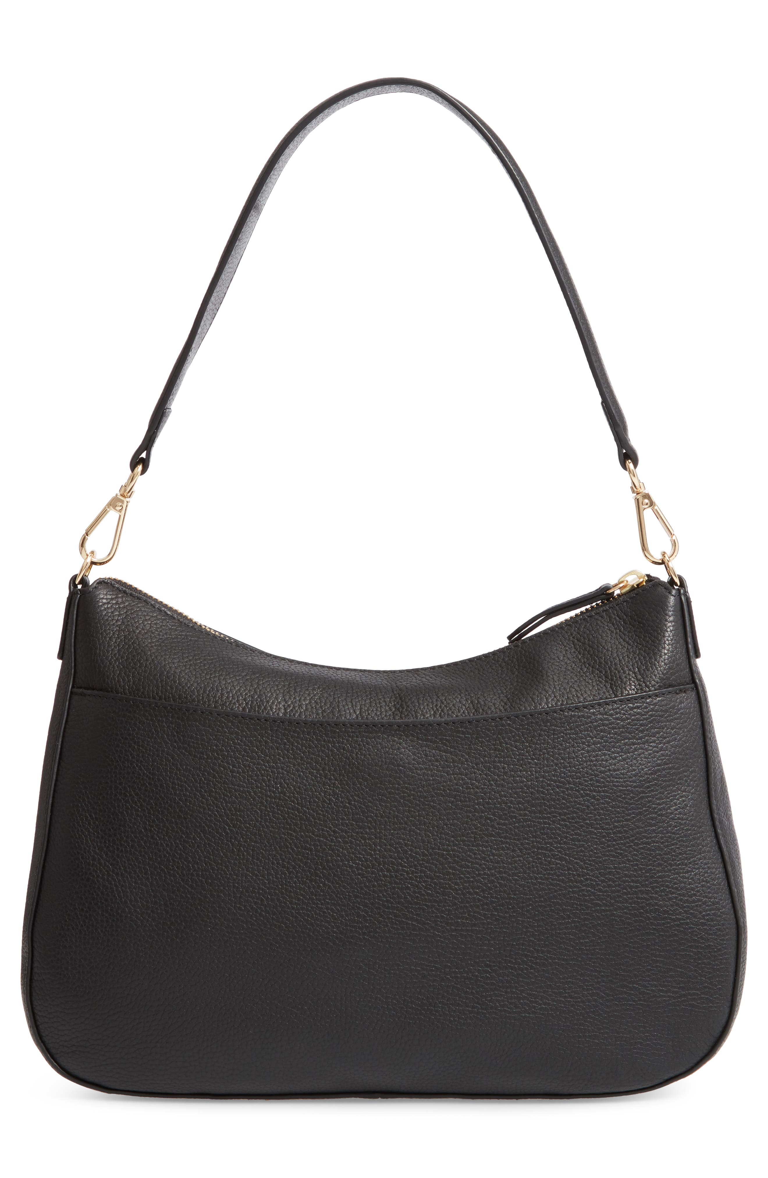NORDSTROM, Finn Convertible Leather Hobo, Alternate thumbnail 5, color, BLACK