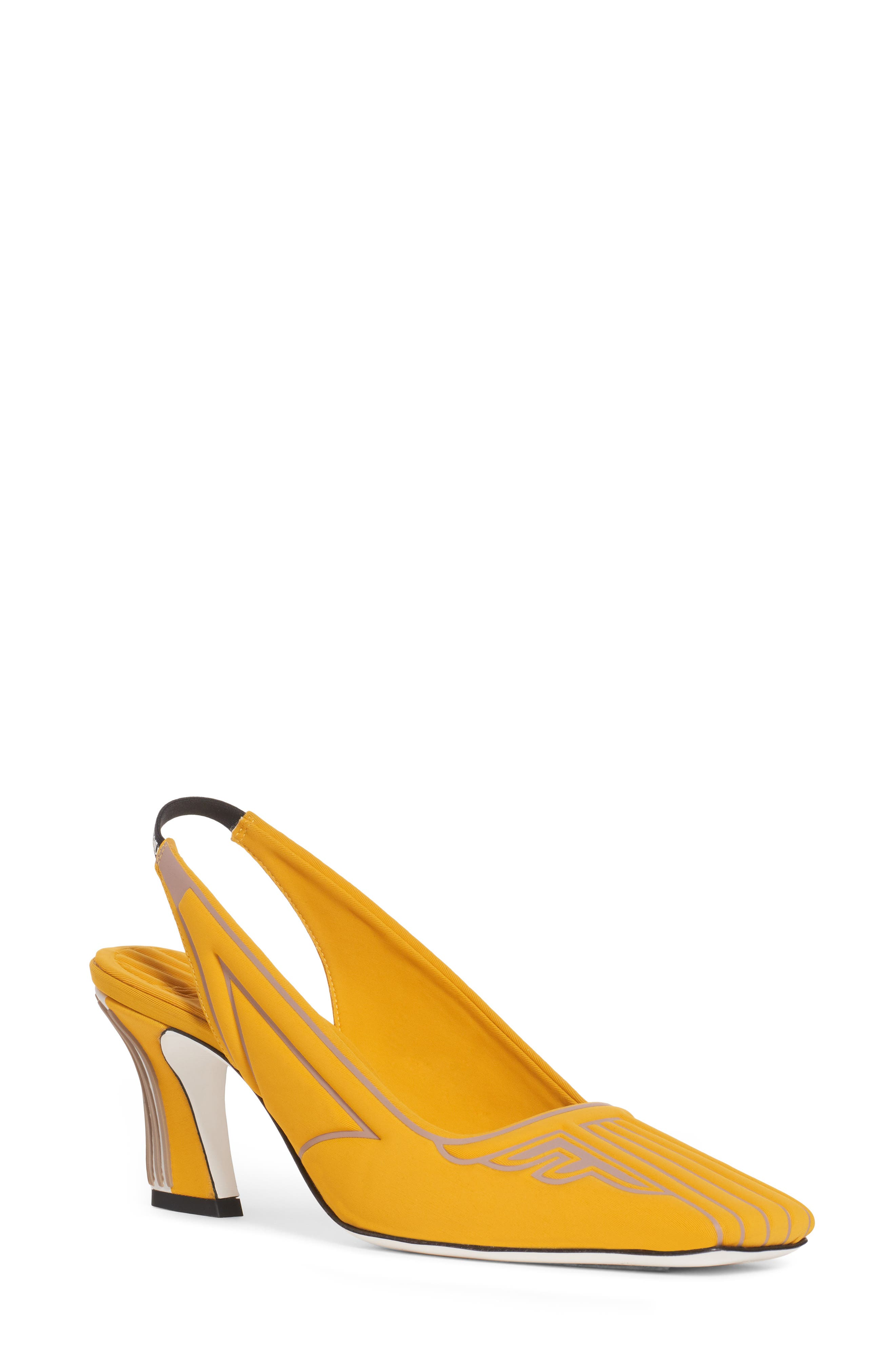 FENDI FFreedom Logo Slingback Pump, Main, color, YELLOW