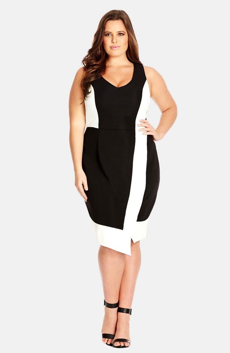 City Chic \'Mono Asymmetric\' Colorblock Ponte Dress (Plus Size ...