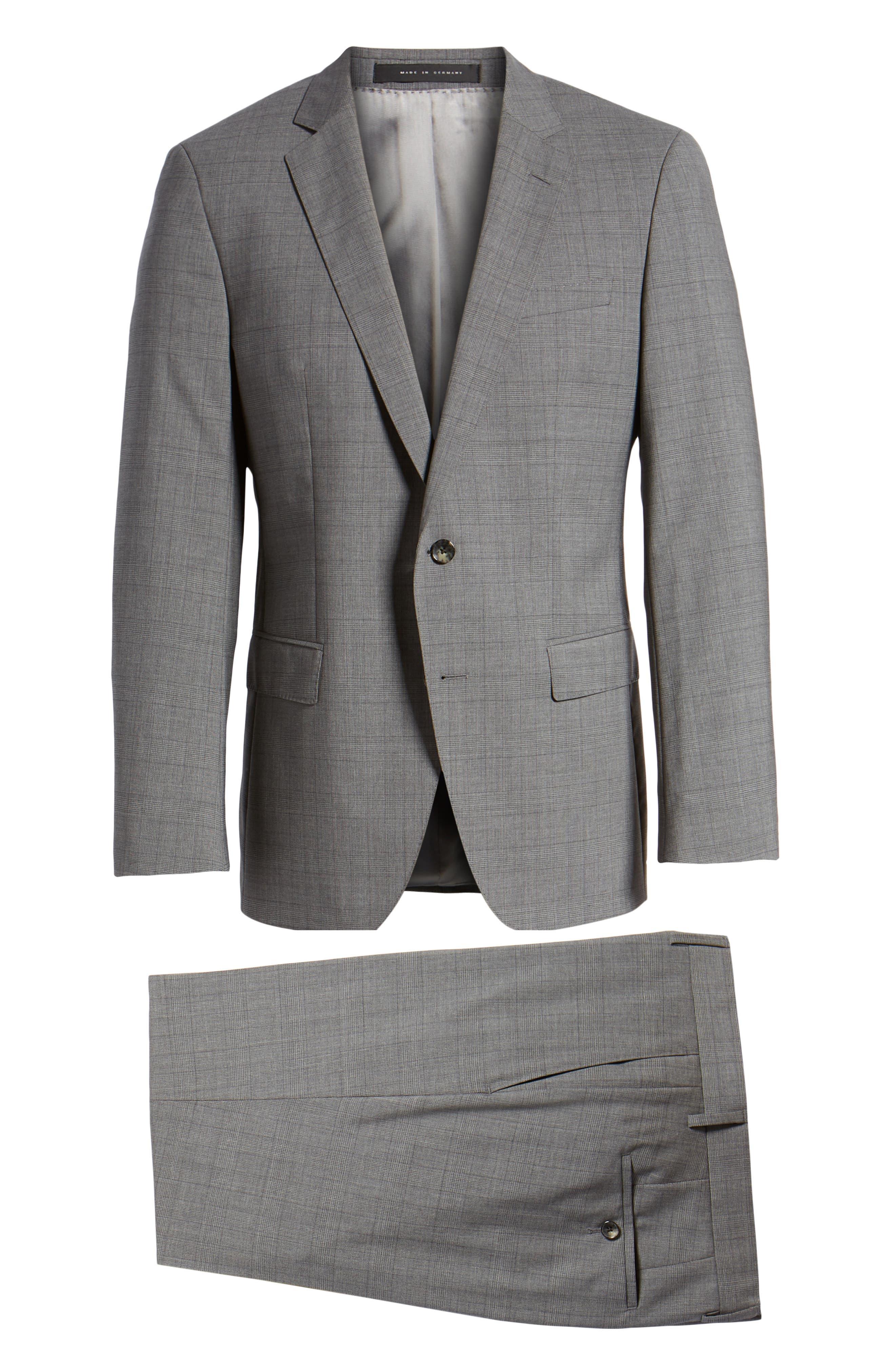 BOSS, Huge/Genius Trim Fit Plaid Wool Suit, Alternate thumbnail 8, color, 069