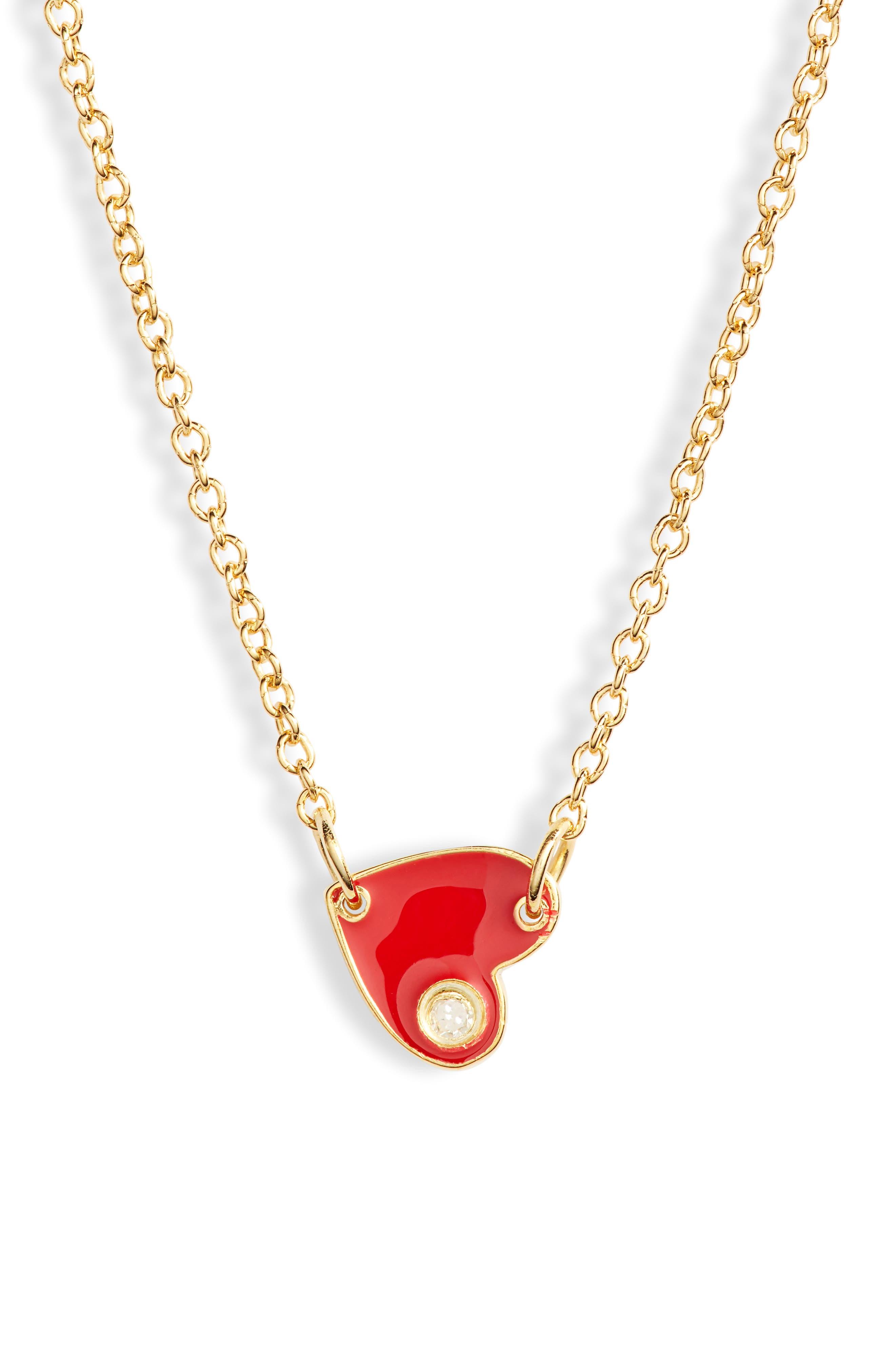 JENNIFER ZEUNER, Mia Mini Diamond Pendant Necklace, Main thumbnail 1, color, RED ENAMEL/GOLD VERMEIL