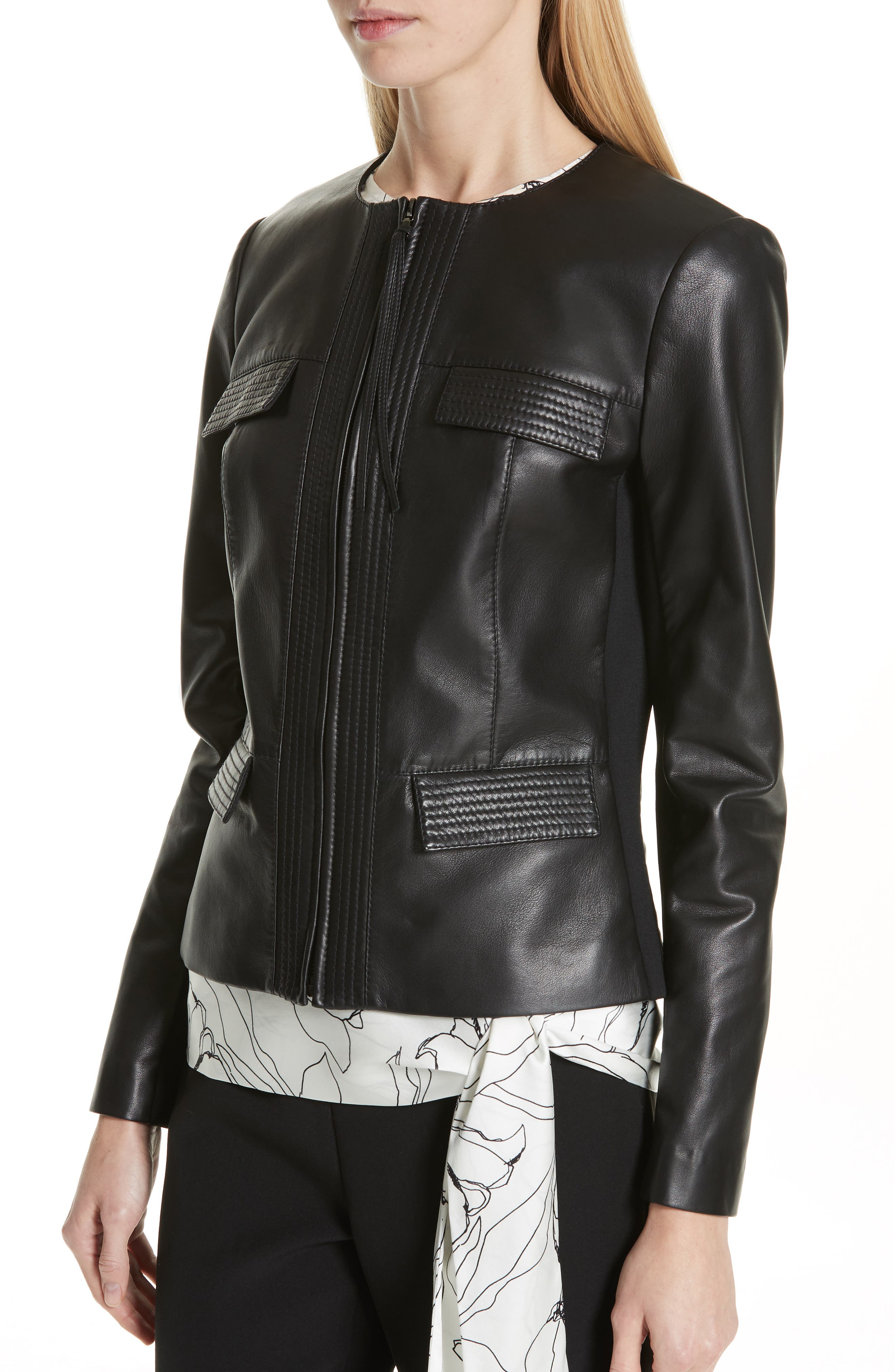 ST. JOHN COLLECTION, Luxe Nappa Leather Jacket, Alternate thumbnail 5, color, CAVIAR