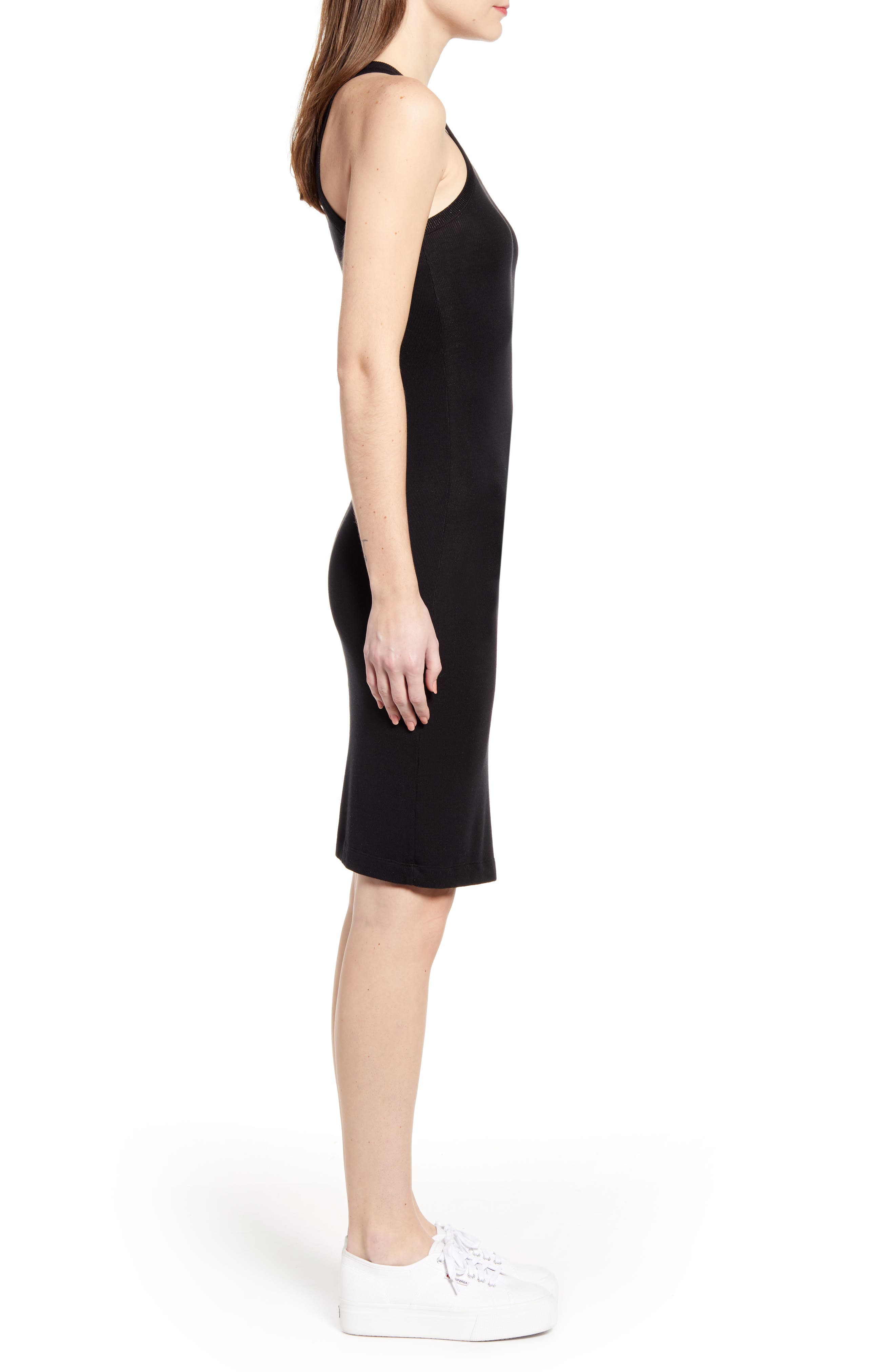 SPLENDID, Racerback Knit Dress, Alternate thumbnail 4, color, BLACK