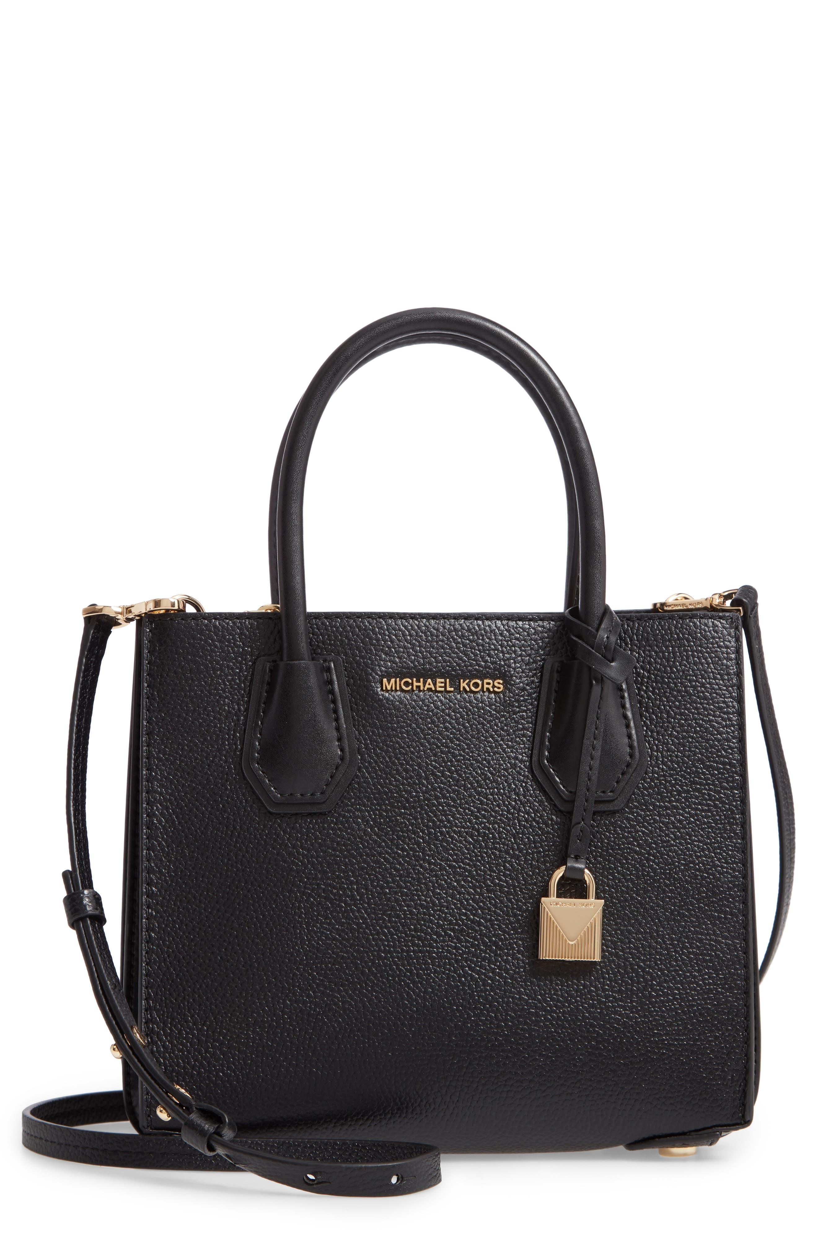 MICHAEL MICHAEL KORS Medium Mercer Convertible Leather Tote, Main, color, BLACK