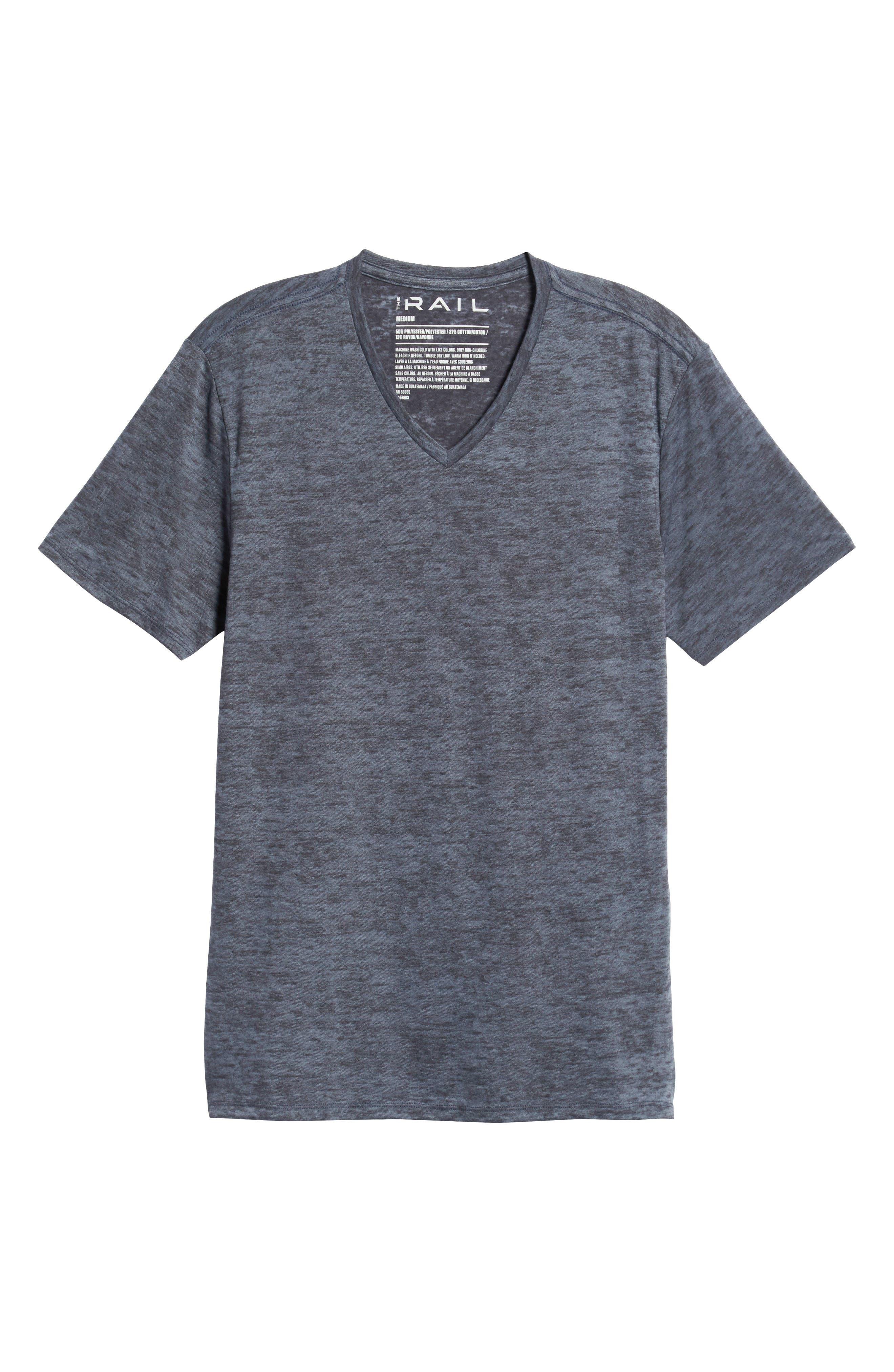 THE RAIL, Burnout V-Neck T-Shirt, Alternate thumbnail 6, color, BLUE STONEWASH - NAVY BURNOUT