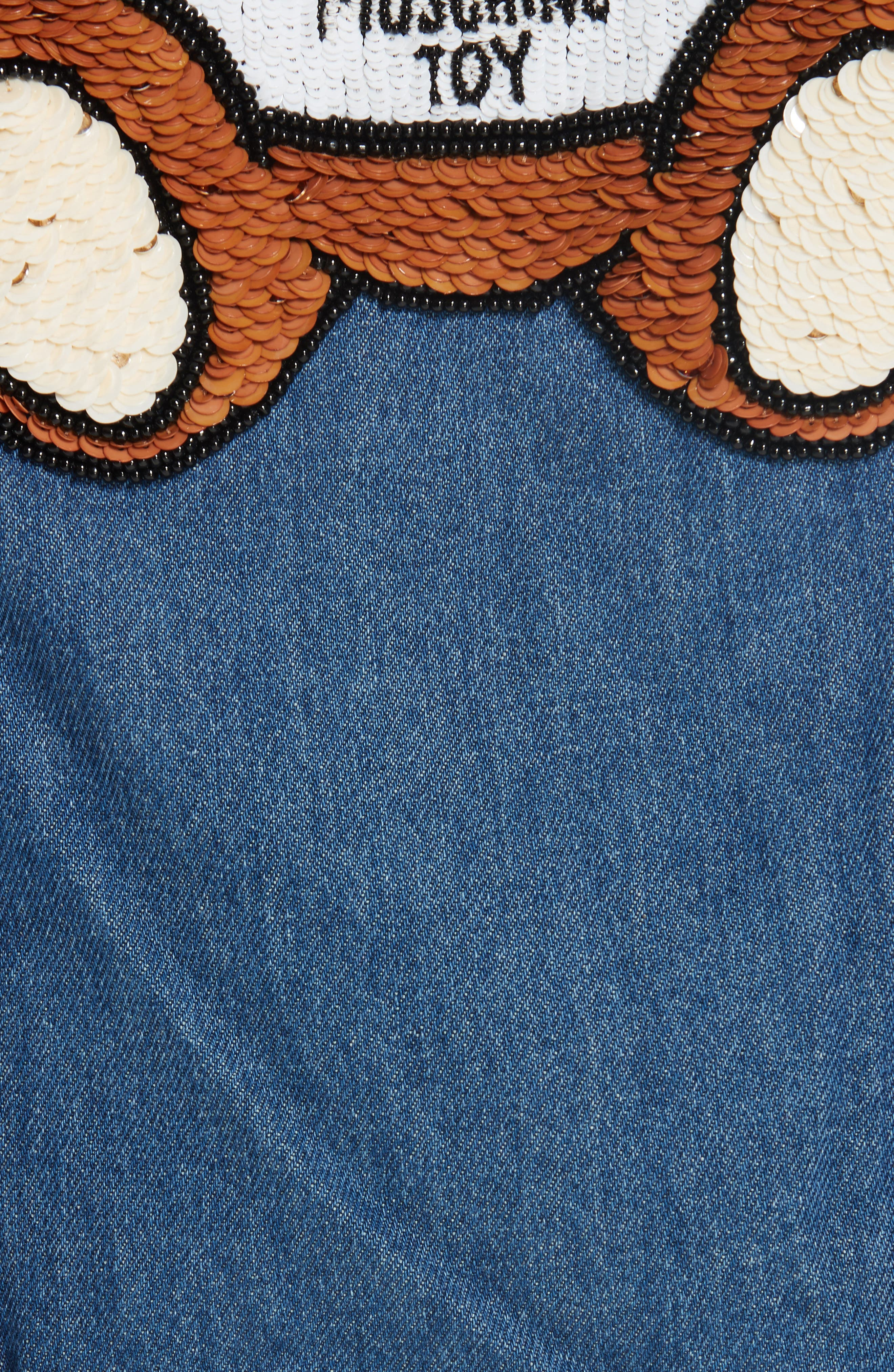 MOSCHINO, Sequin Teddy Denim Jacket, Alternate thumbnail 7, color, DENIM