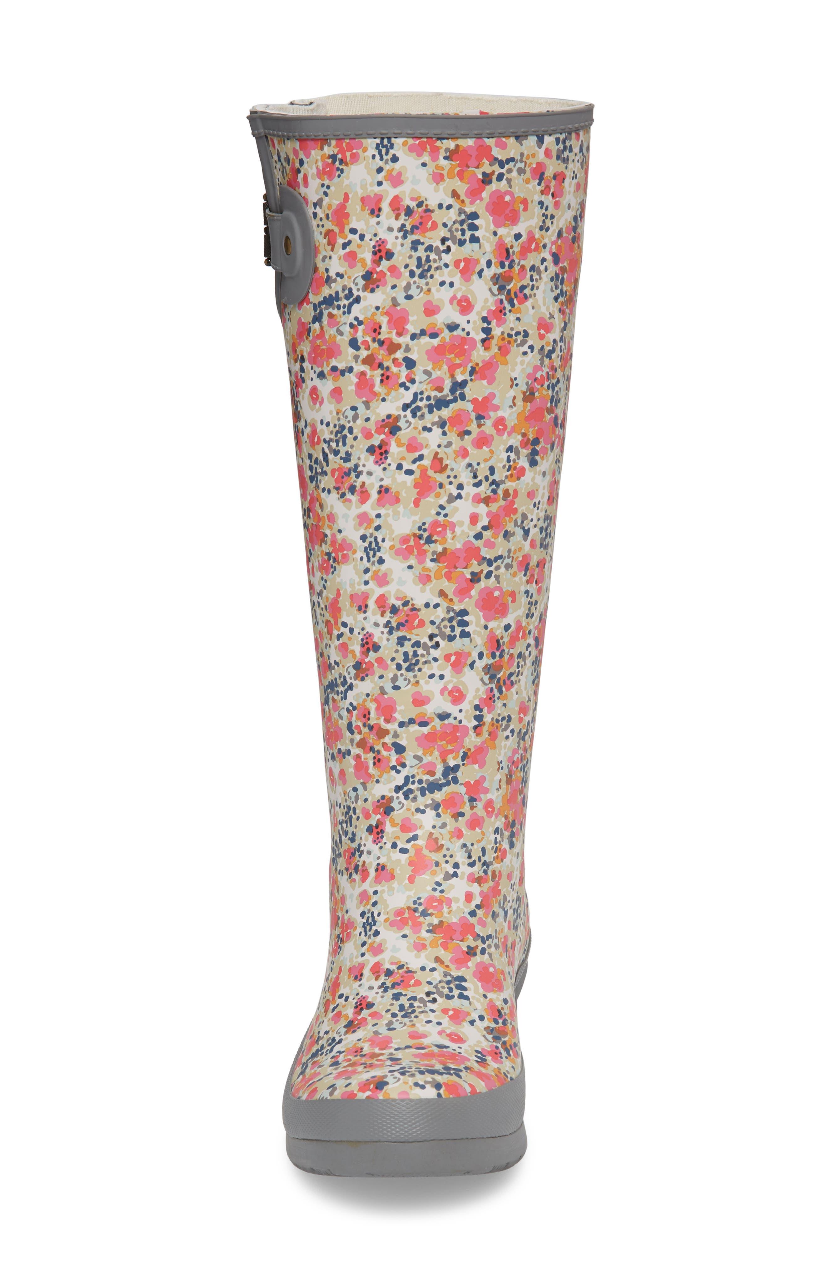 CHOOKA, Julia Floral Waterproof Rain Boot, Alternate thumbnail 4, color, GRAY
