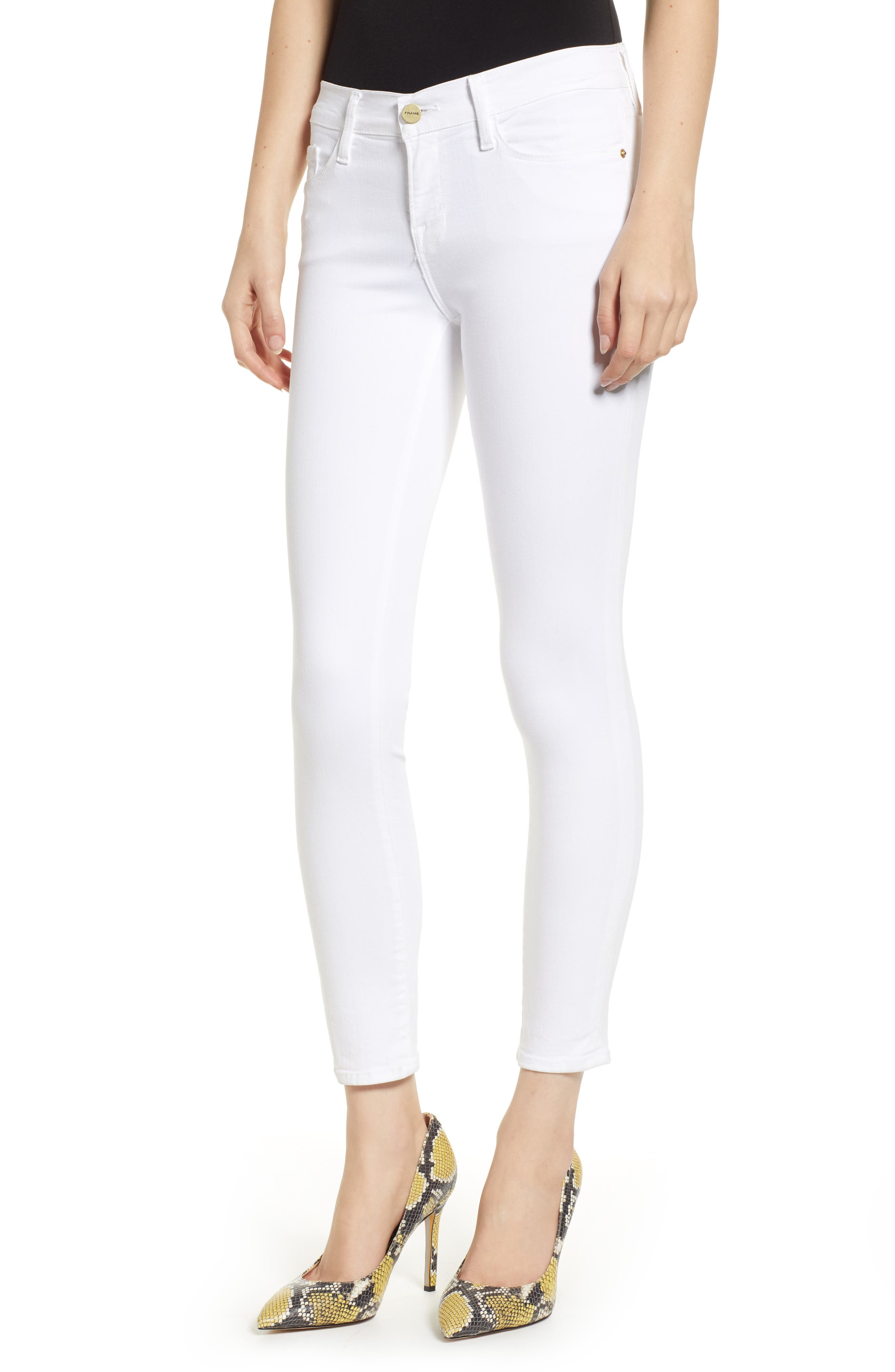 FRAME, Le Color Crop Skinny Jeans, Main thumbnail 1, color, BLANC