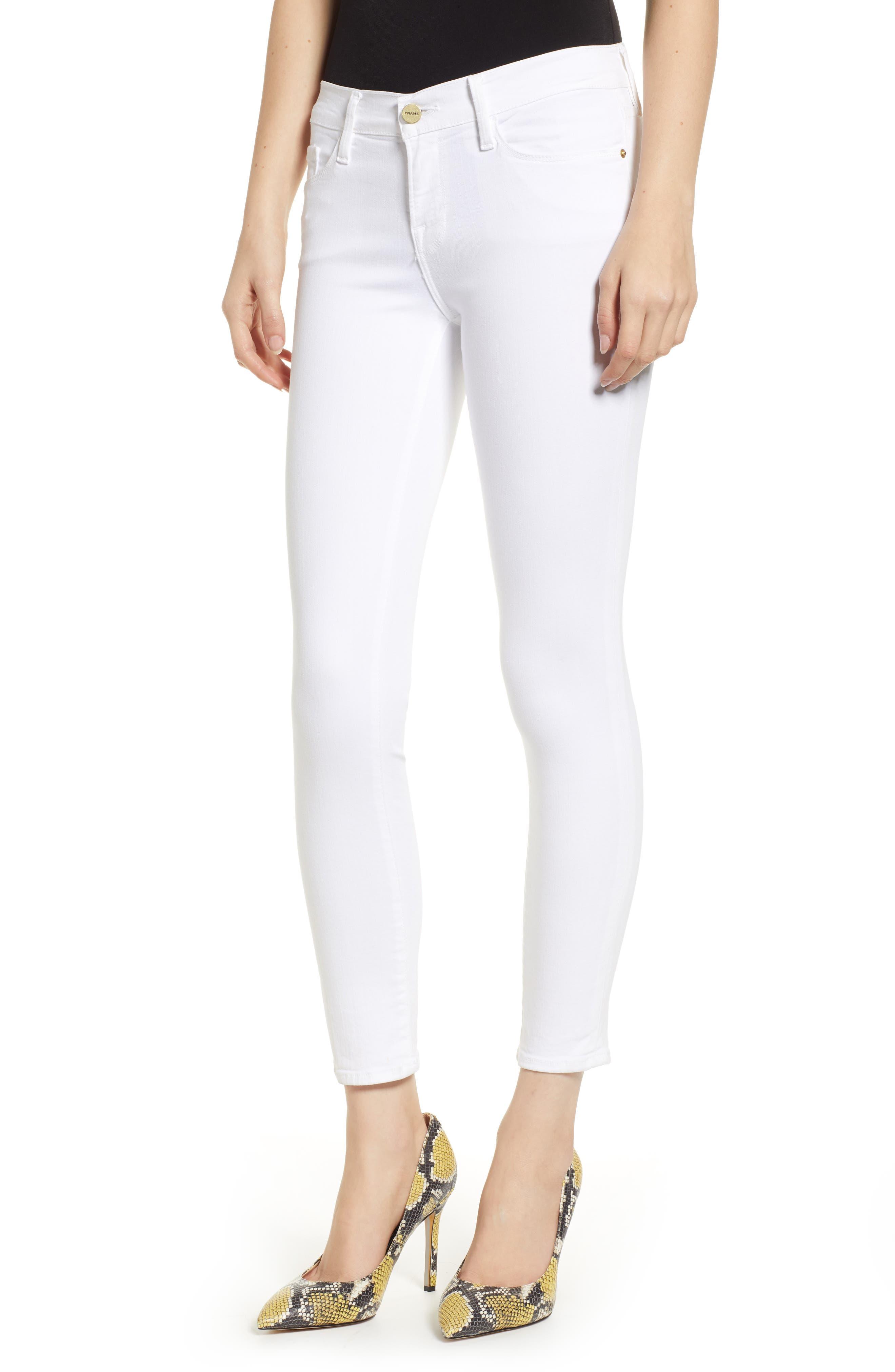 FRAME Le Color Crop Skinny Jeans, Main, color, BLANC