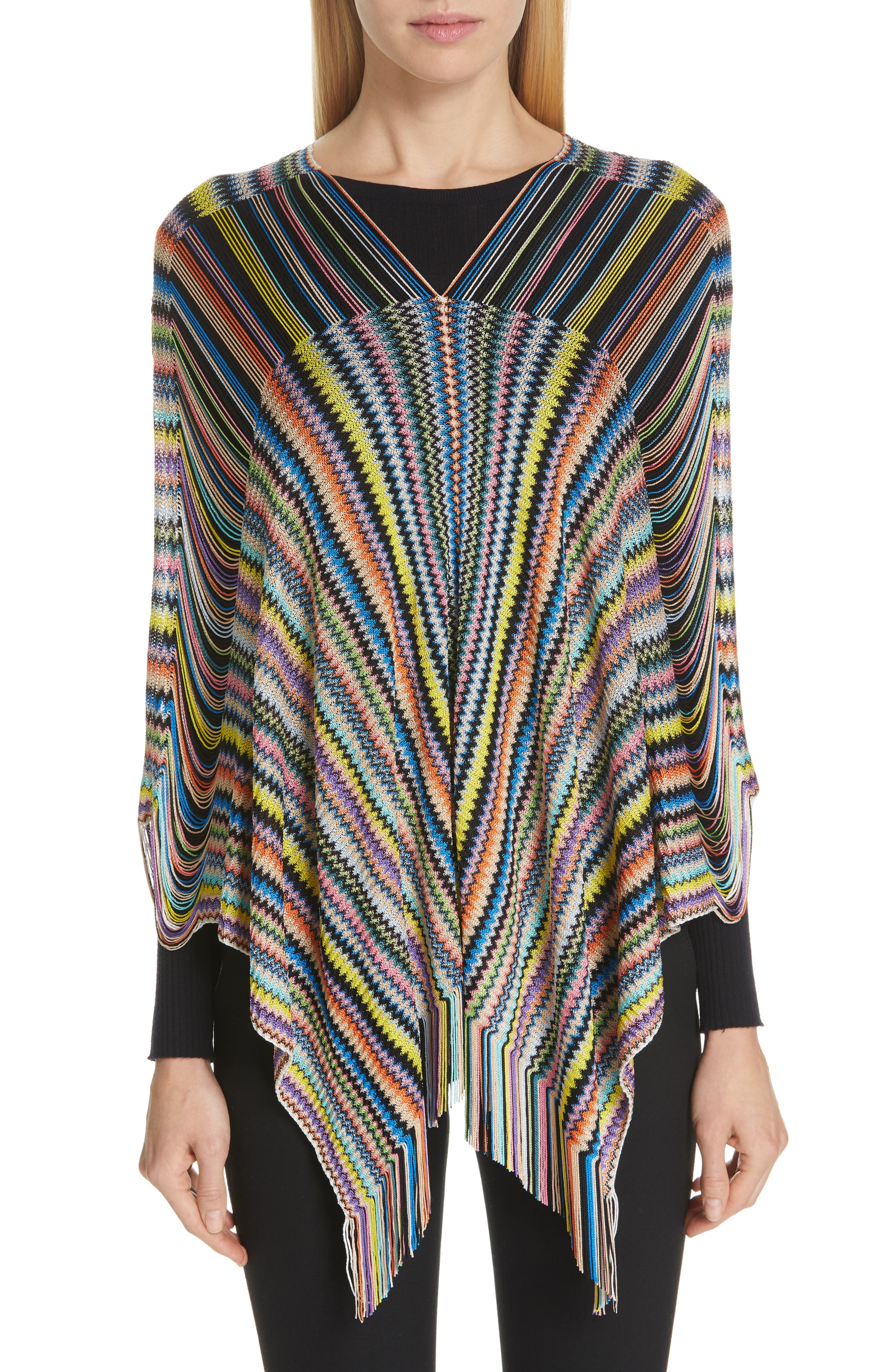 MISSONI, Open Weave Shoulder Poncho, Main thumbnail 1, color, DANDELION