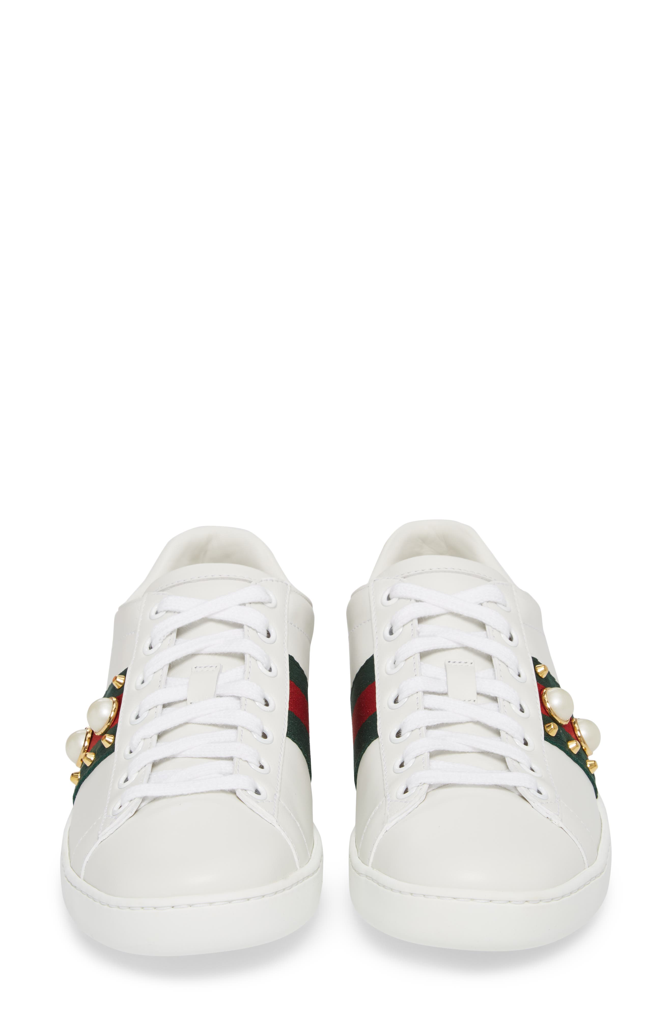 GUCCI, New Ace Low Top Sneaker, Alternate thumbnail 4, color, WHITE/ RED