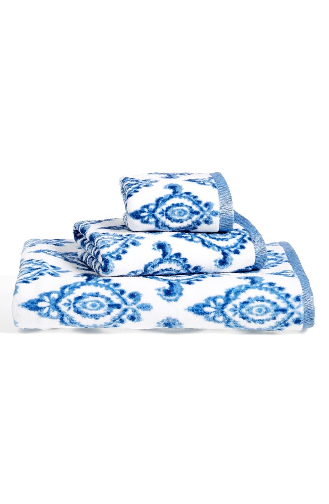 DENA HOME, 'Madison' Ikat Print Bath Towel, Alternate thumbnail 3, color, 410