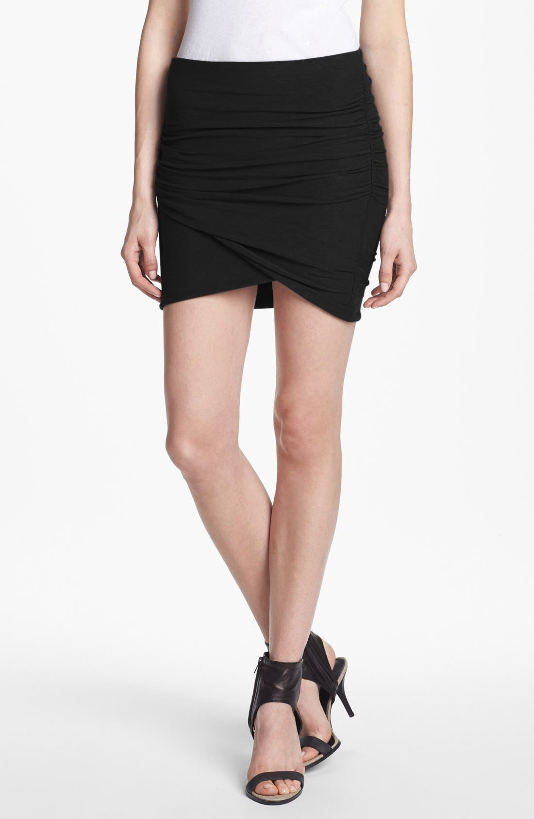 JAMES PERSE, Wrapped Miniskirt, Main thumbnail 1, color, BLACK