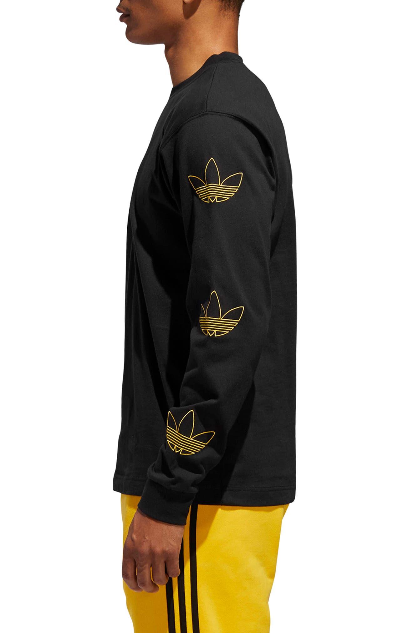 ADIDAS ORIGINALS, Embroidered Trefoil Long Sleeve T-Shirt, Alternate thumbnail 3, color, BLACK/ WHITE