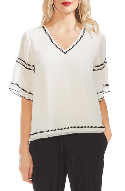 Vince Camuto Tops BELL SLEEVE EMBROIDERED CHIFFON TOP