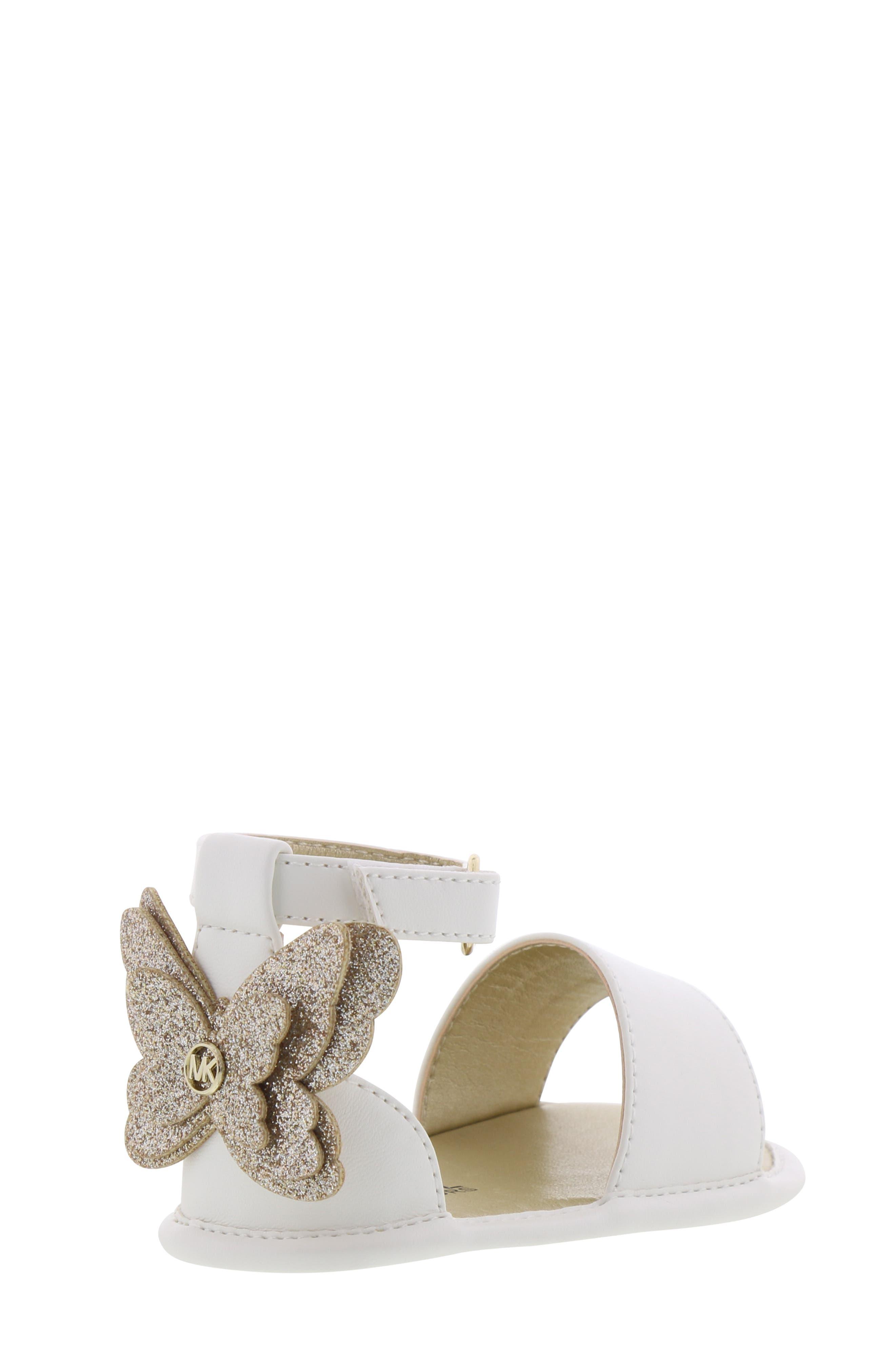MICHAEL MICHAEL KORS, Tilly Sansa Glitter Sandal, Alternate thumbnail 2, color, WHITE