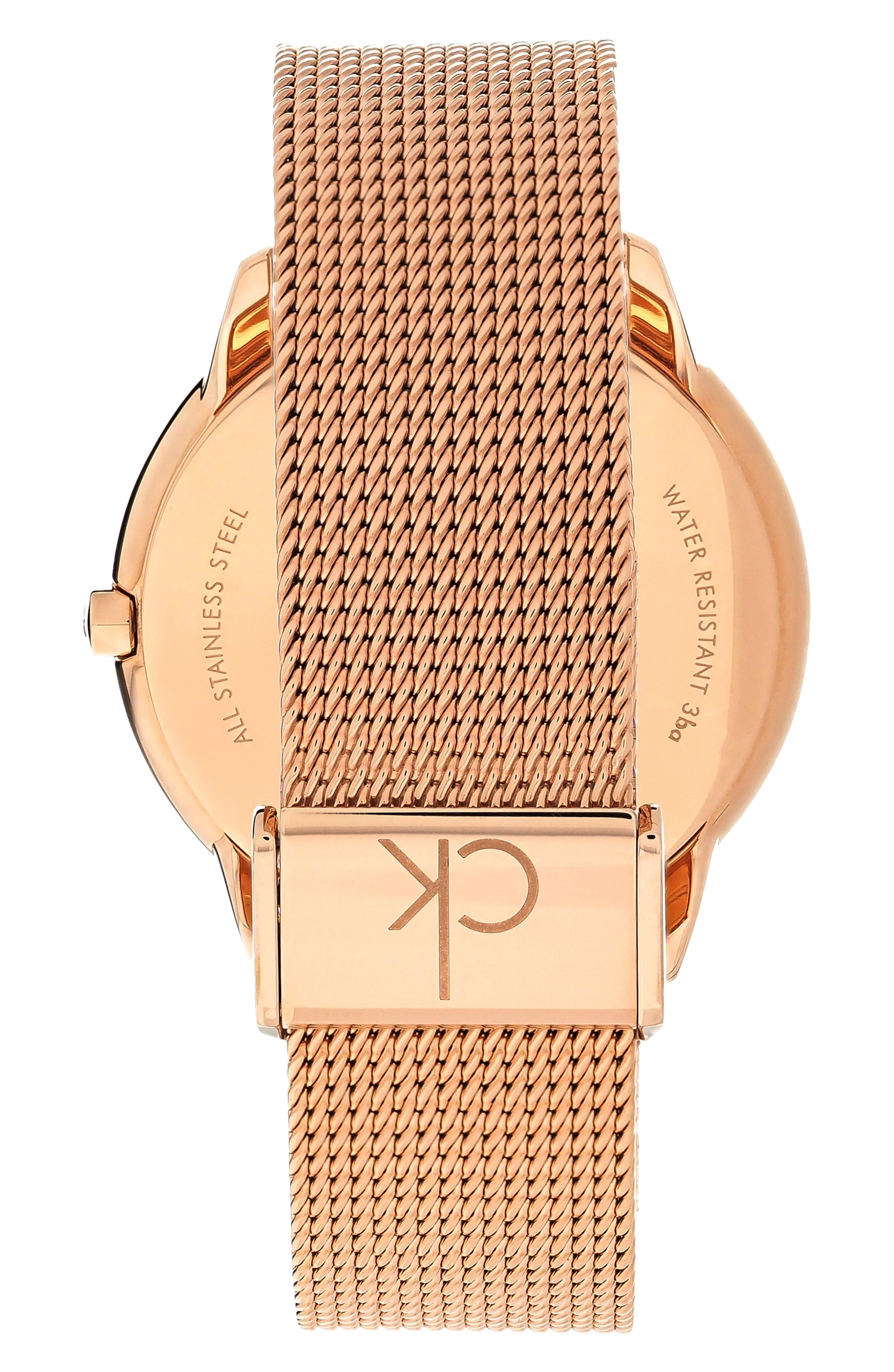 CALVIN KLEIN, Minimal Mesh Strap Watch, 40mm, Alternate thumbnail 2, color, ROSE GOLD/ BLACK/ ROSE GOLD