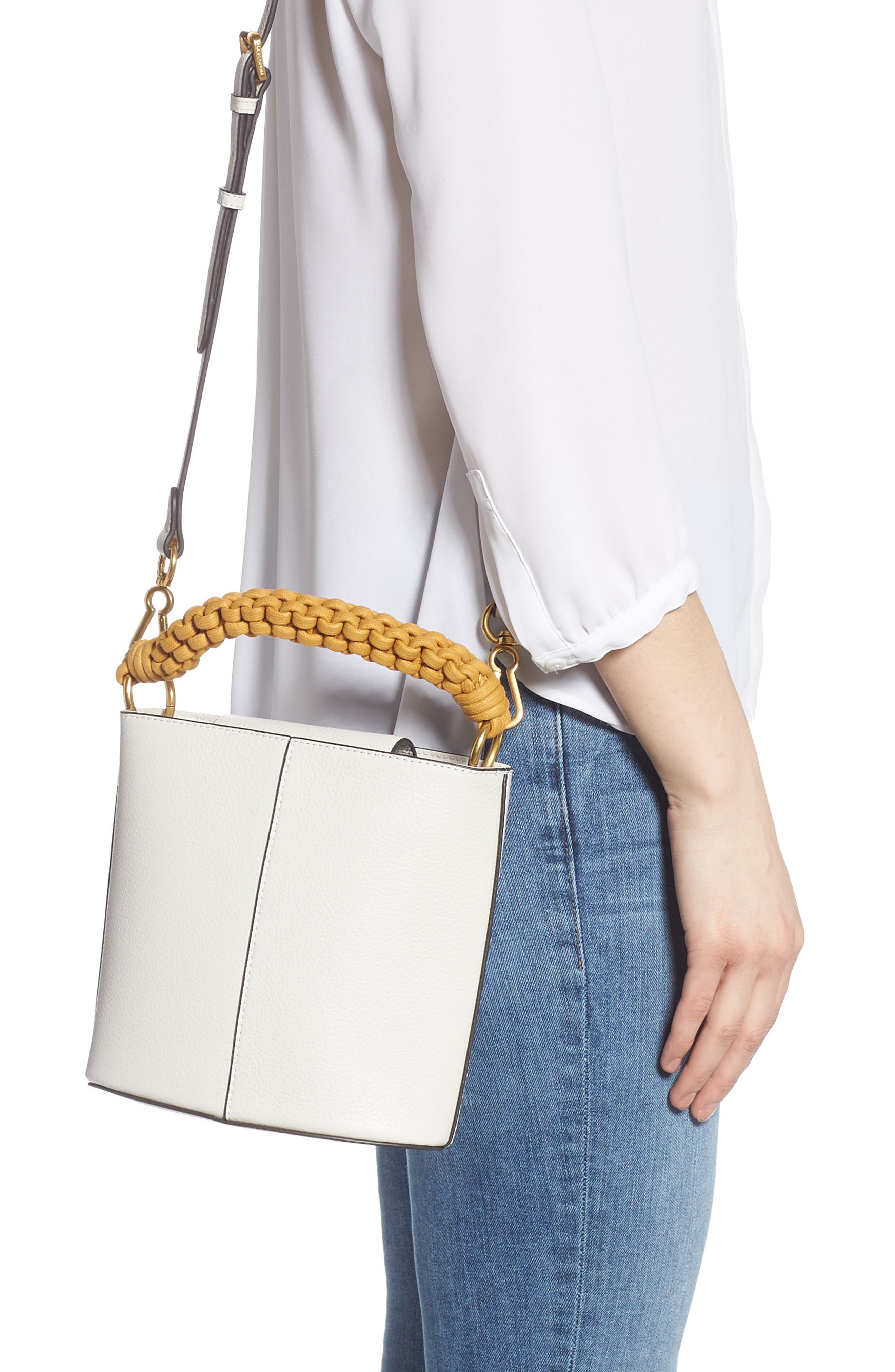 VINCE CAMUTO, Zane Leather Bucket Bag, Alternate thumbnail 2, color, SNOW WHITE