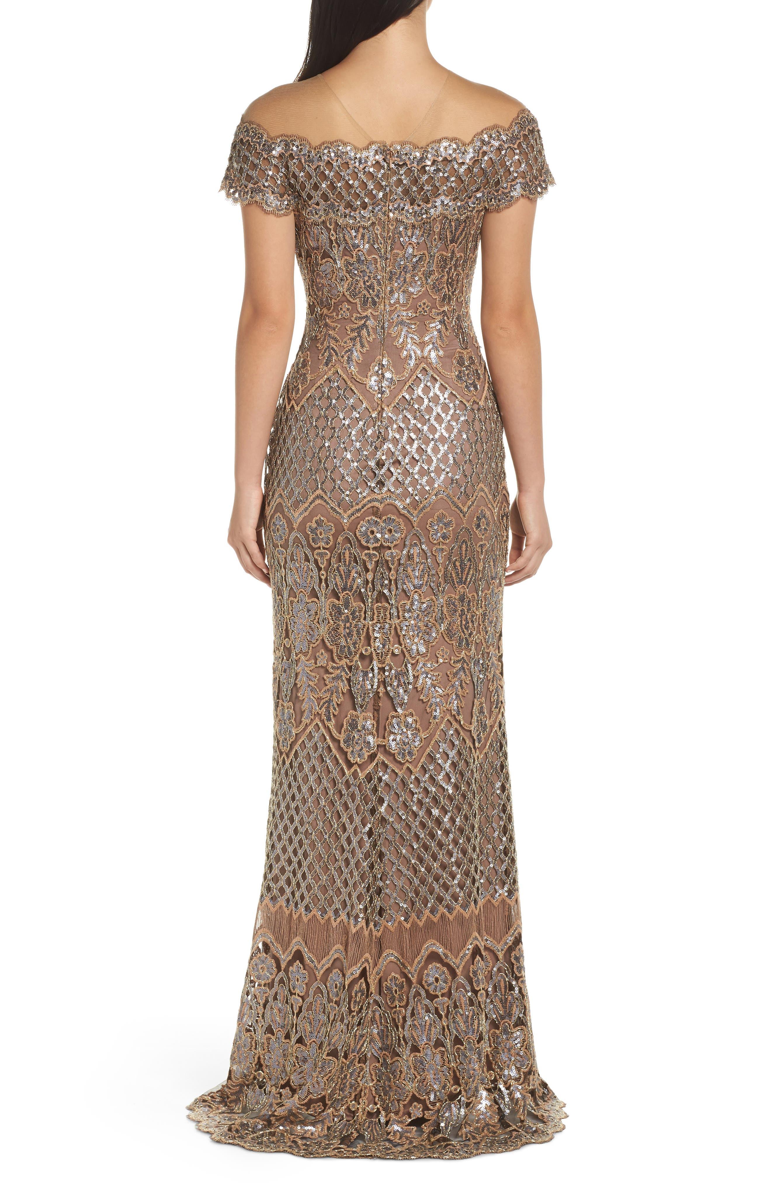 TADASHI SHOJI, Illusion Neck Sequin Lace Evening Dress, Alternate thumbnail 2, color, 230