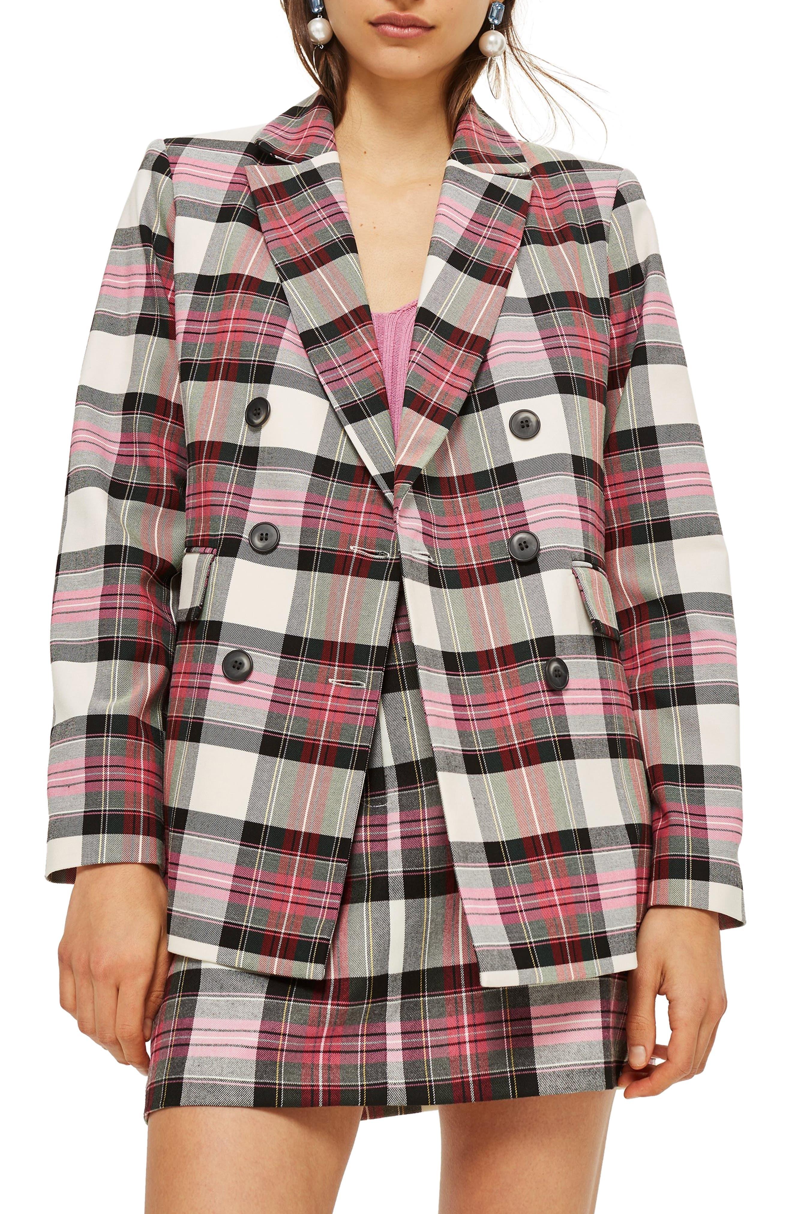 TOPSHOP, Tartan Double Breasted Jacket, Main thumbnail 1, color, 650