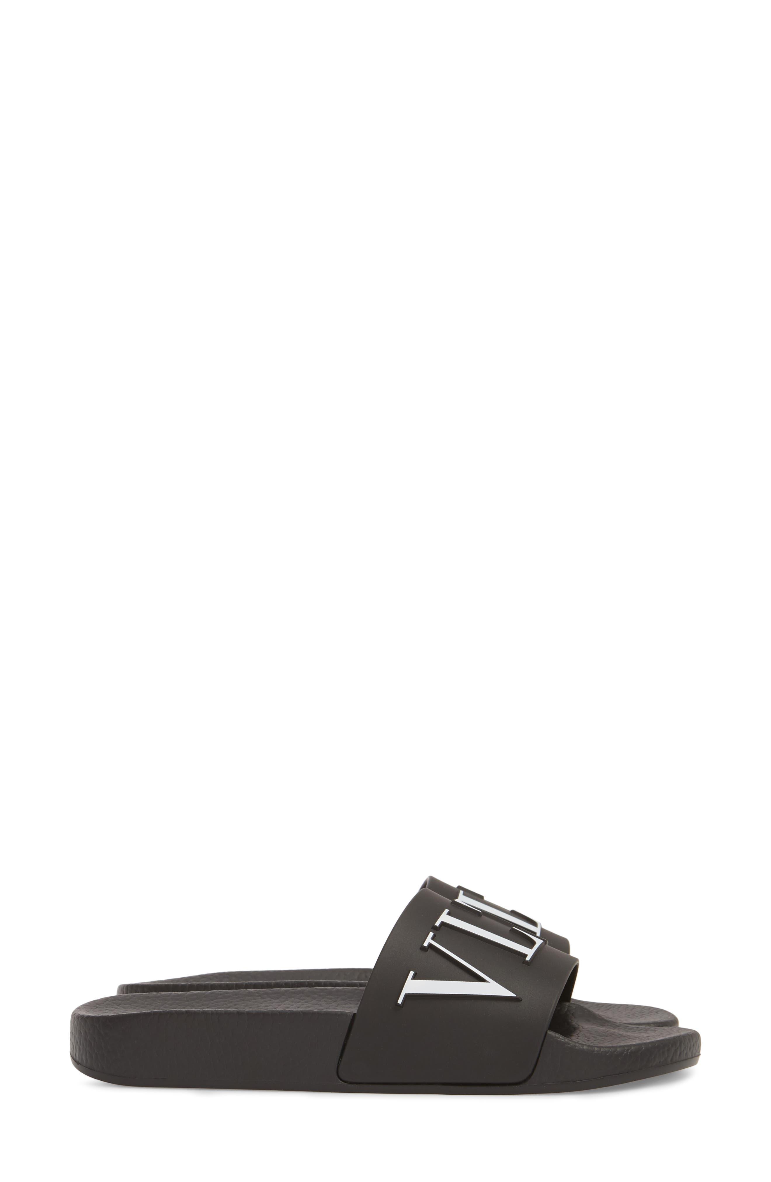 VALENTINO GARAVANI, VLTN Pool Slide Sandal, Alternate thumbnail 3, color, BLACK/ WHITE