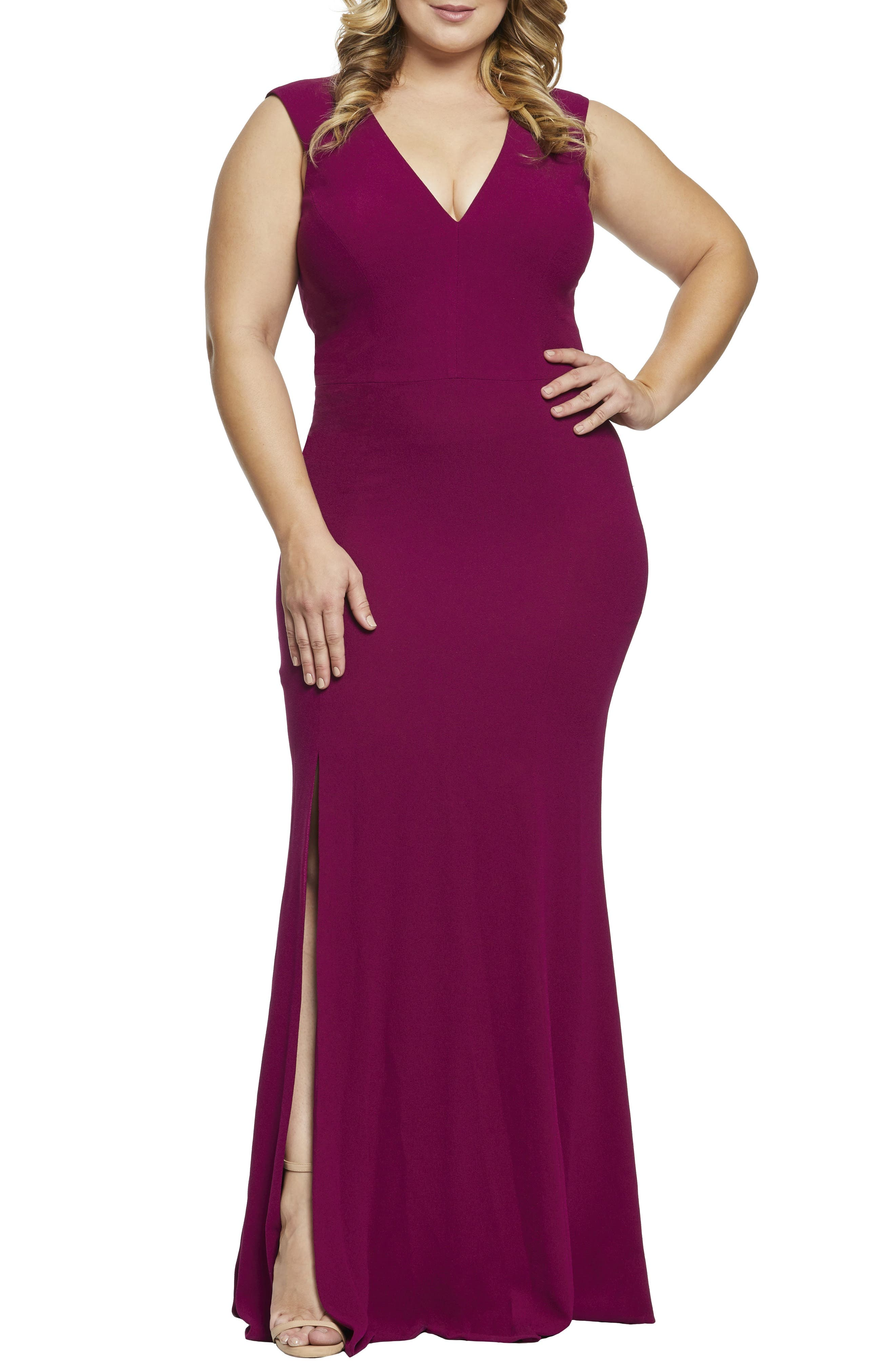 Plus Size Dress The Population Sandra Plunge Gown, Pink