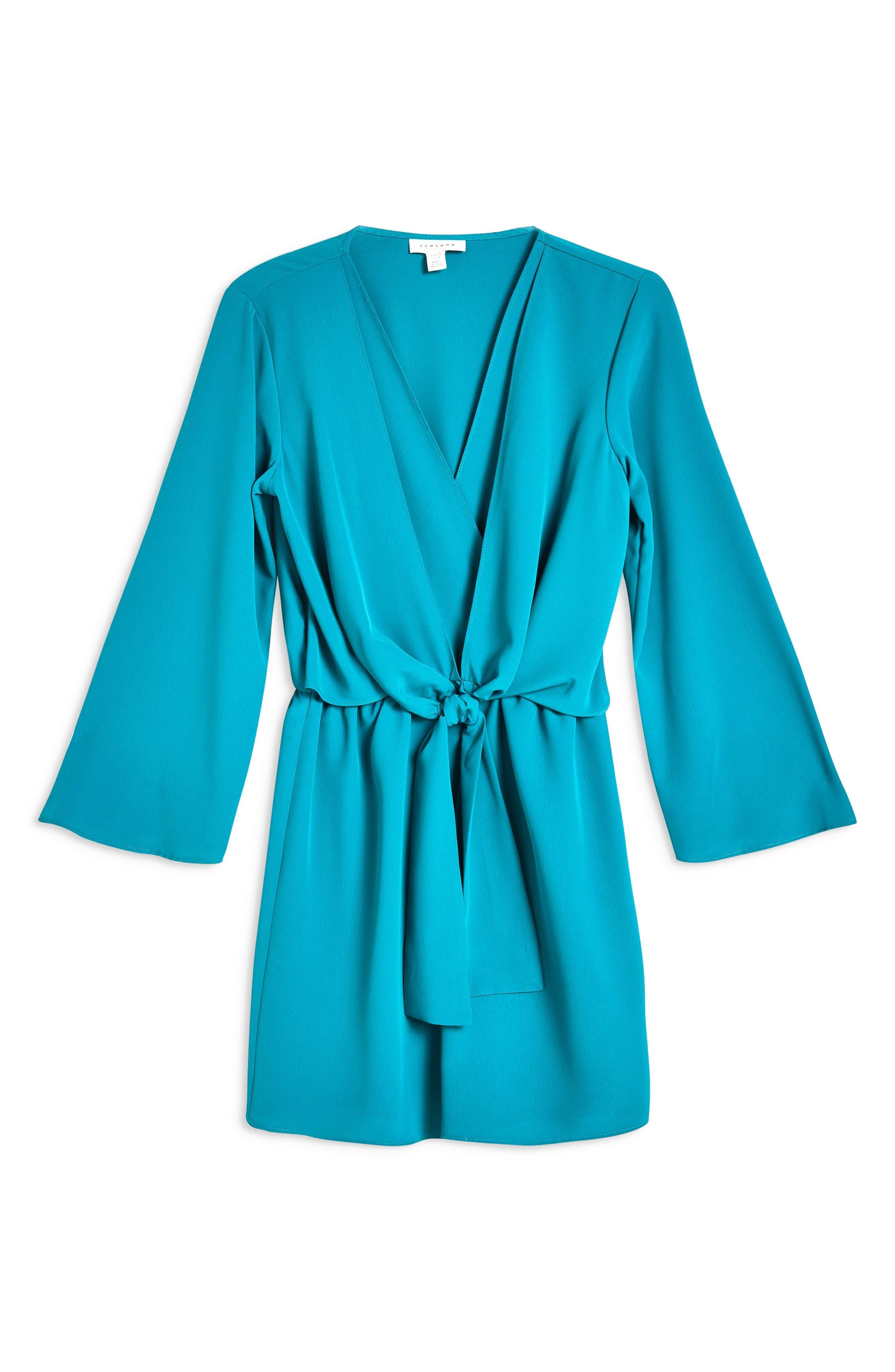 TOPSHOP, Tiffany Knot Minidress, Alternate thumbnail 5, color, TEAL