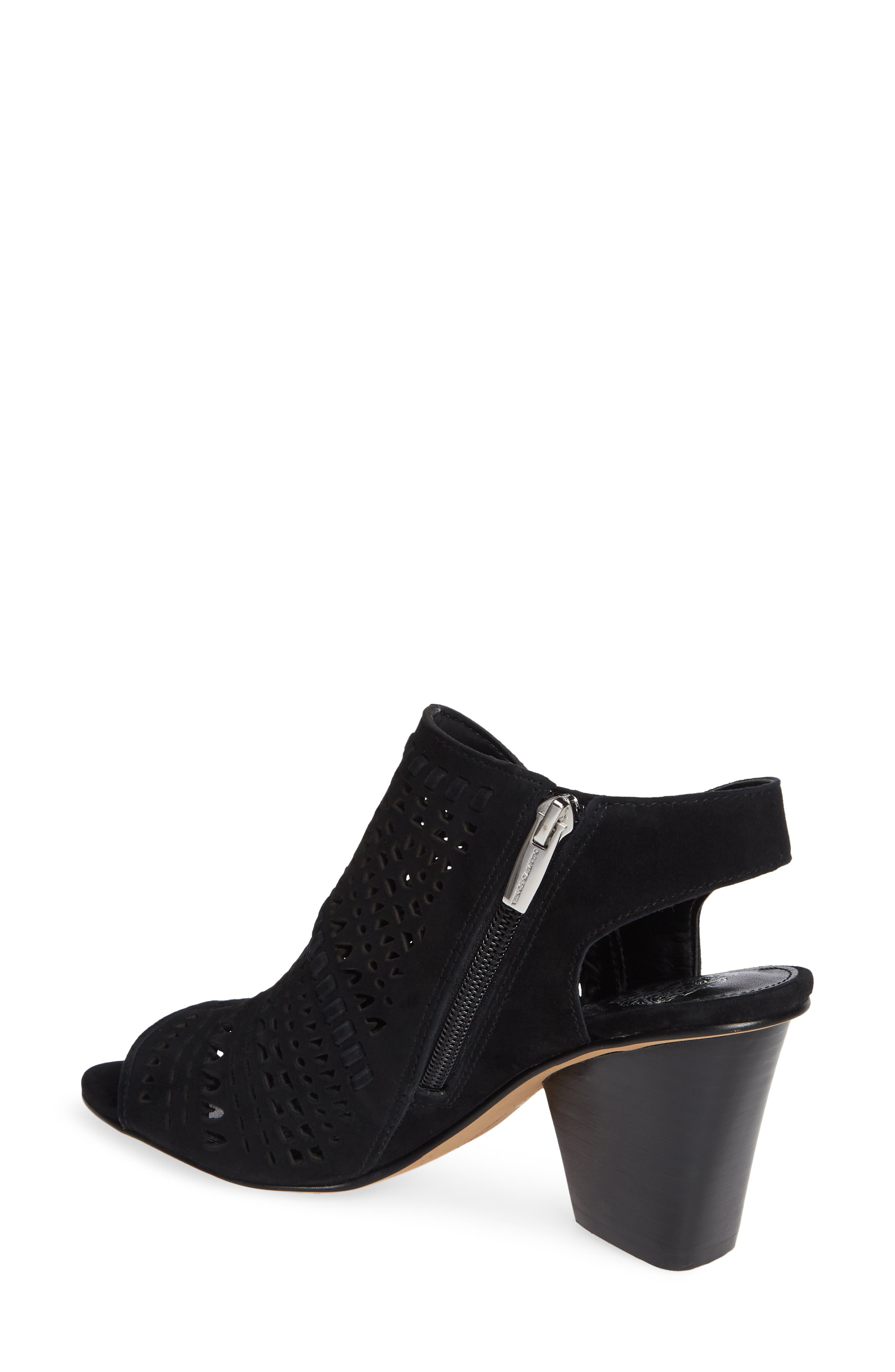 VINCE CAMUTO, Derechie Perforated Shield Sandal, Alternate thumbnail 2, color, BLACK SUEDE