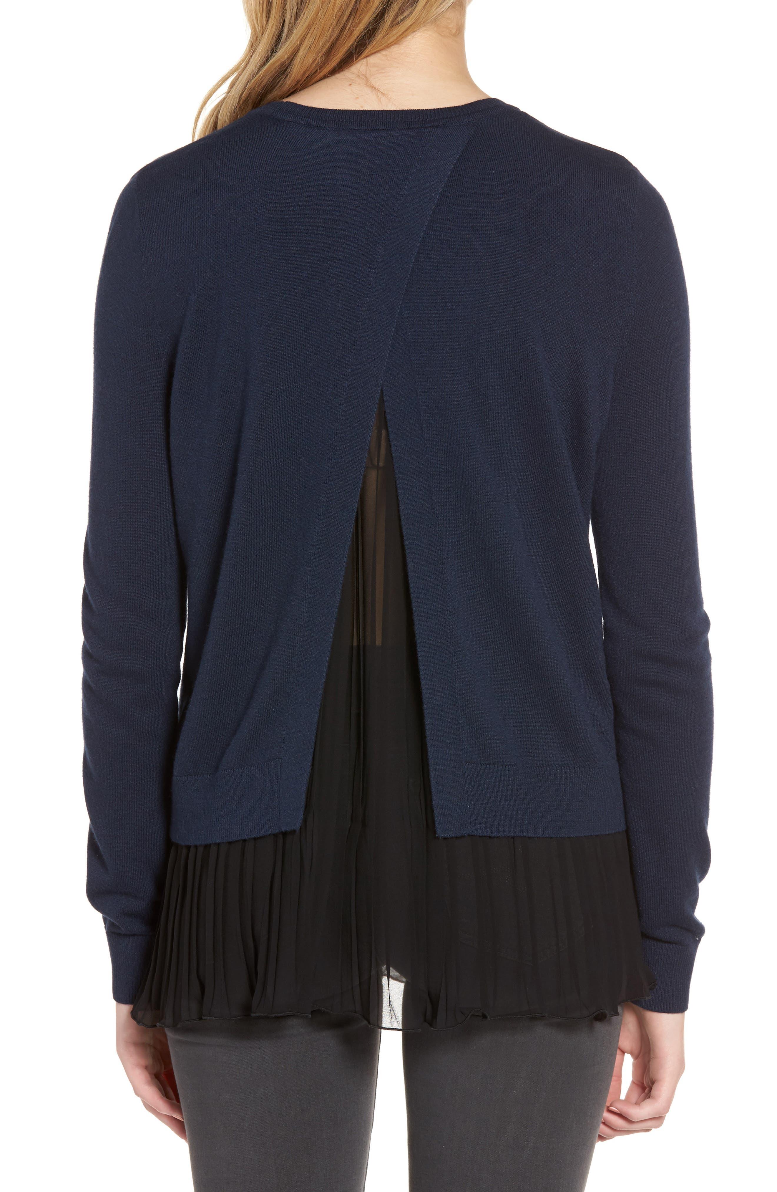 CHELSEA28, Pleated Hem Sweater, Alternate thumbnail 2, color, 410