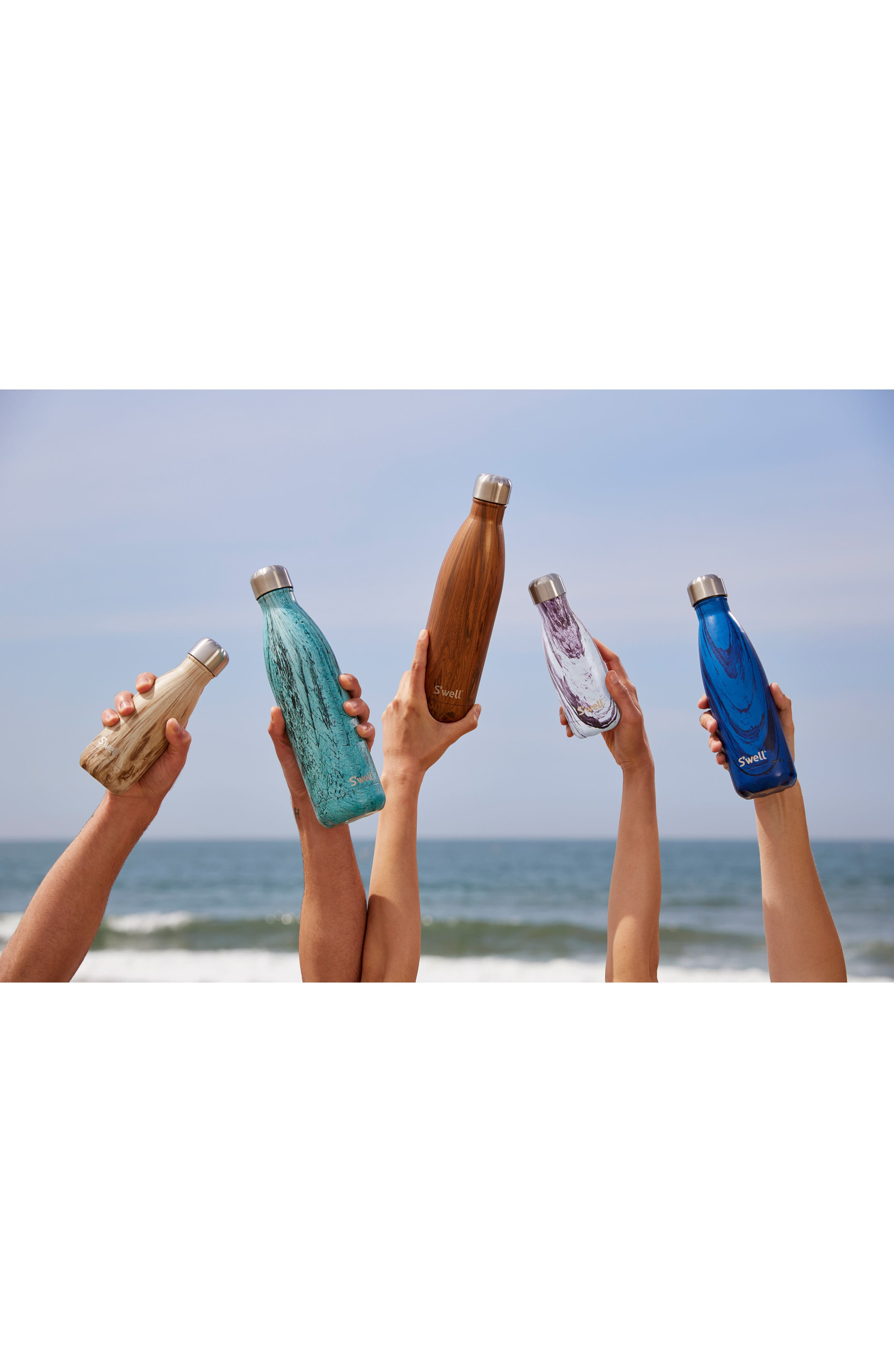 S'WELL, 'The Wood Collection - Lily Wood' Insulated Stainless Steel Water Bottle, Alternate thumbnail 6, color, 500