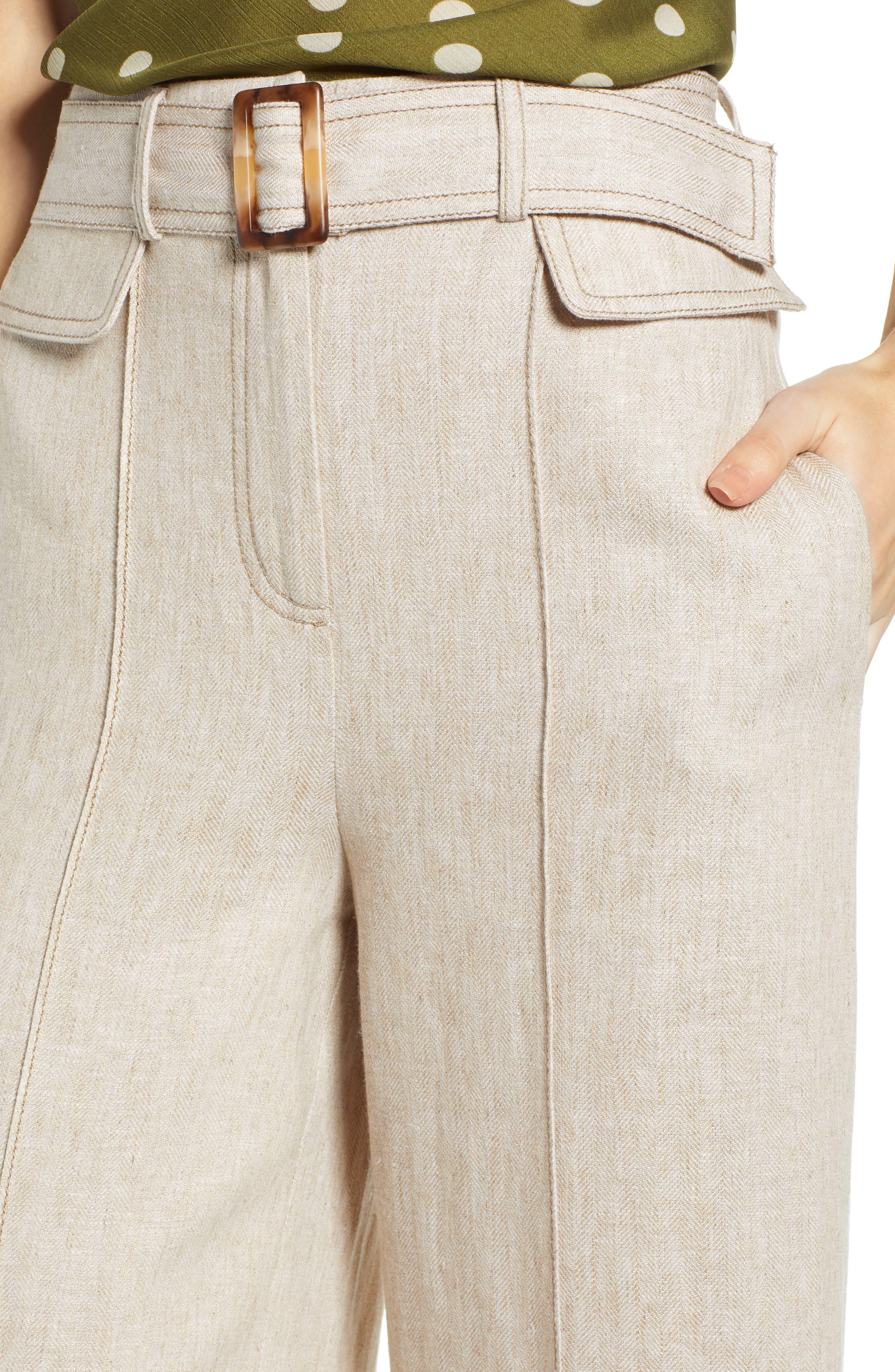 CHRISELLE LIM COLLECTION, Chriselle Lim Toulouse Wide Leg Crop Trousers, Alternate thumbnail 5, color, OATMEAL