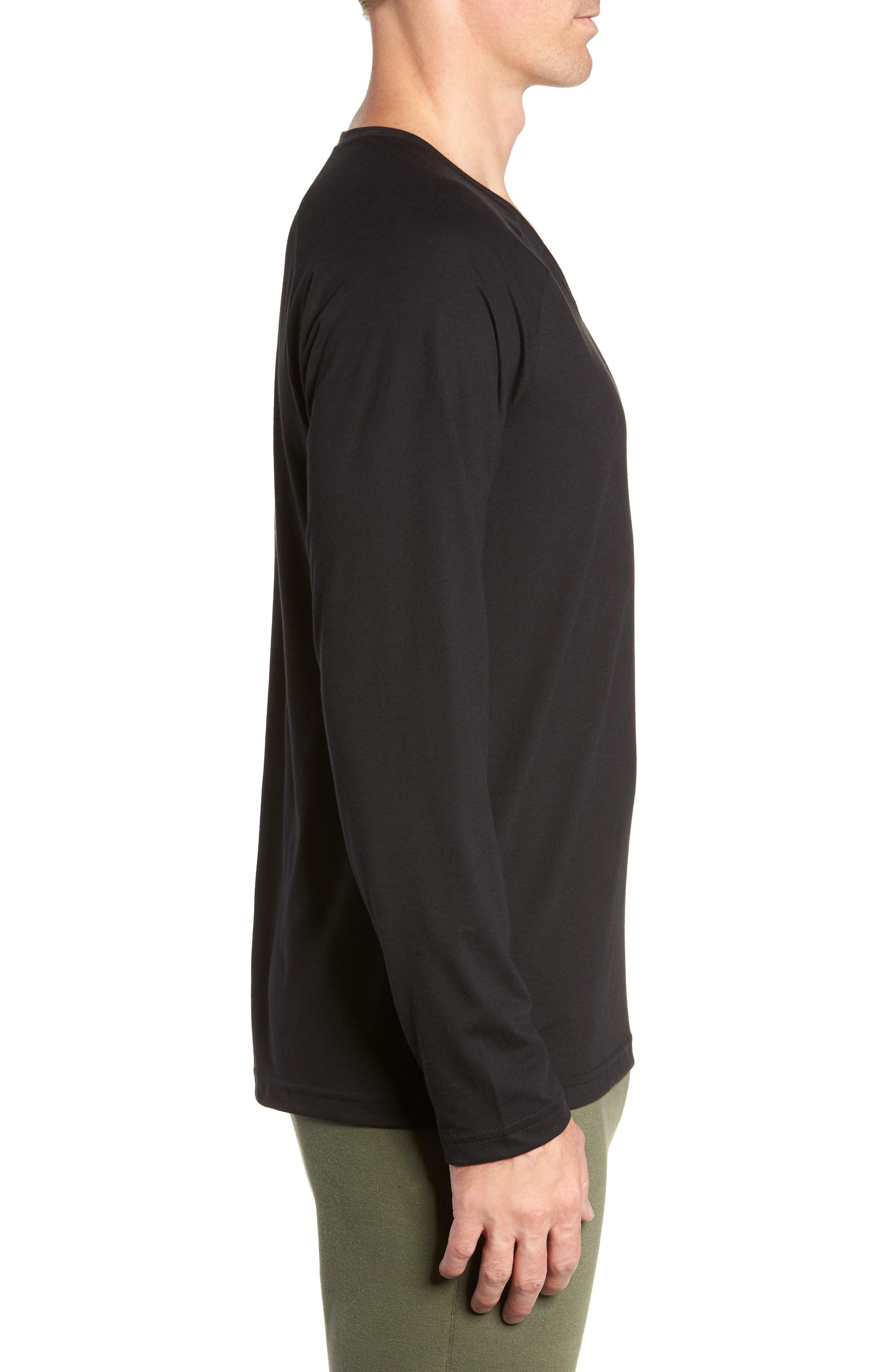 ALO, Triumph Long Raglan Sleeve V-Neck T-Shirt, Alternate thumbnail 3, color, SOLID BLACK TRIBLEND