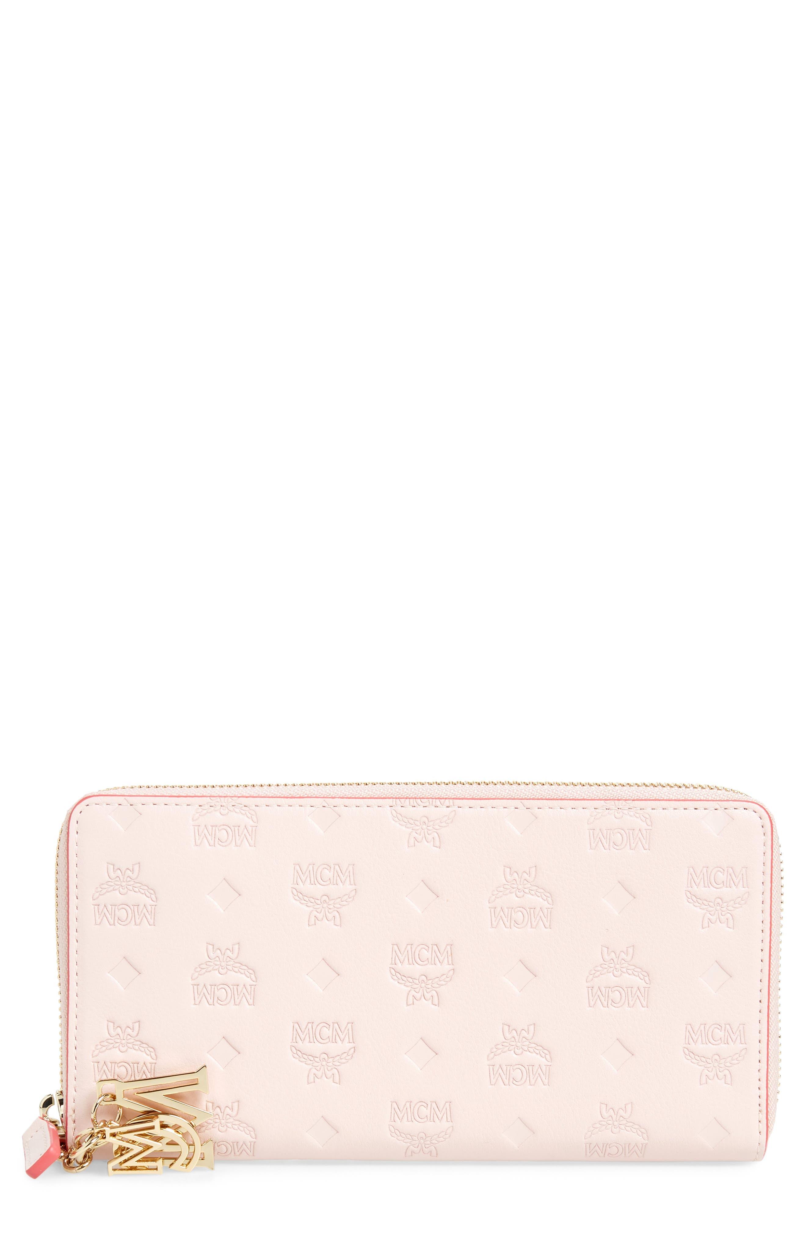 MCM, Klara Leather Zip Wallet, Main thumbnail 1, color, LOTUS