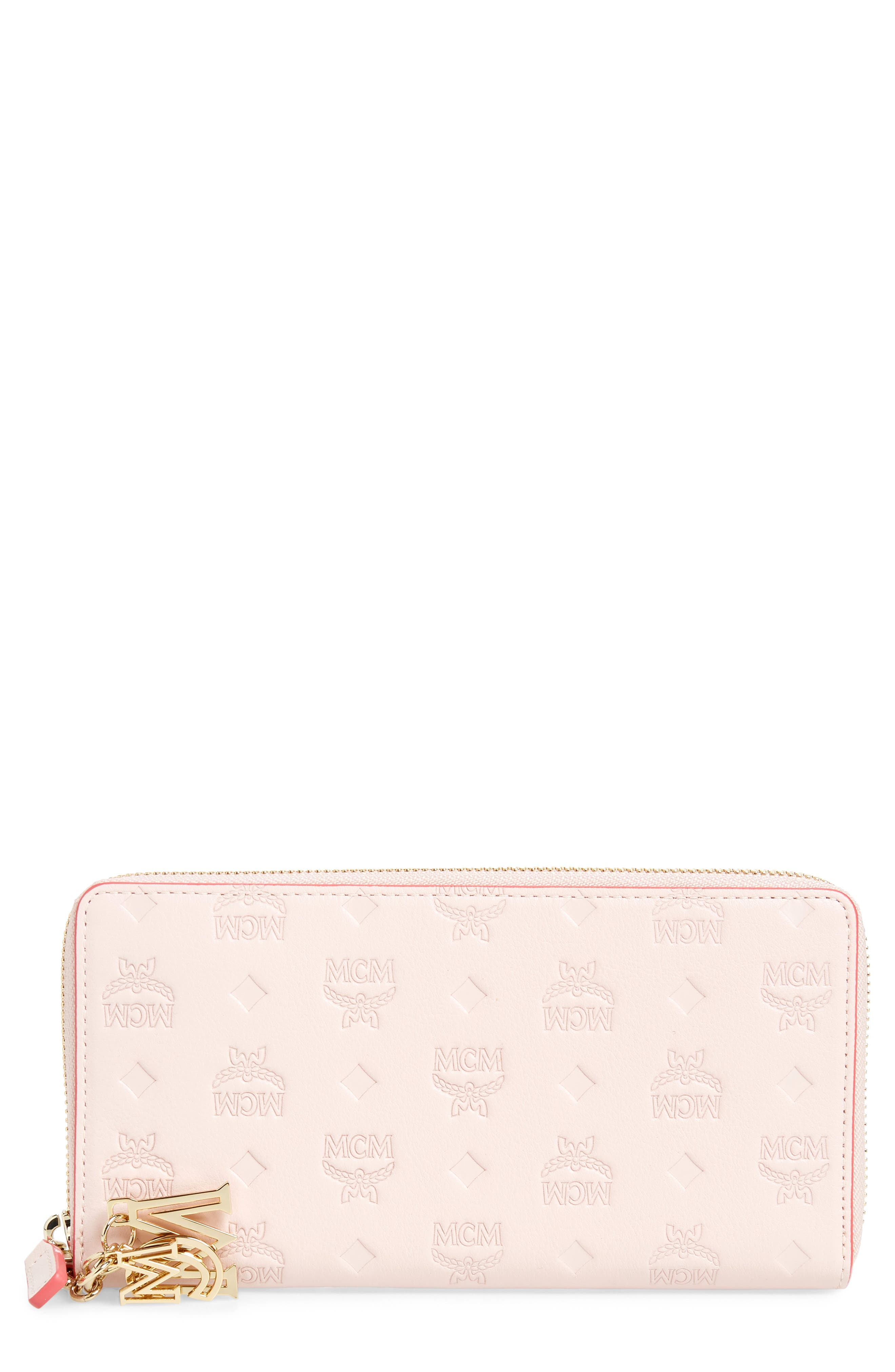 MCM Klara Leather Zip Wallet, Main, color, LOTUS