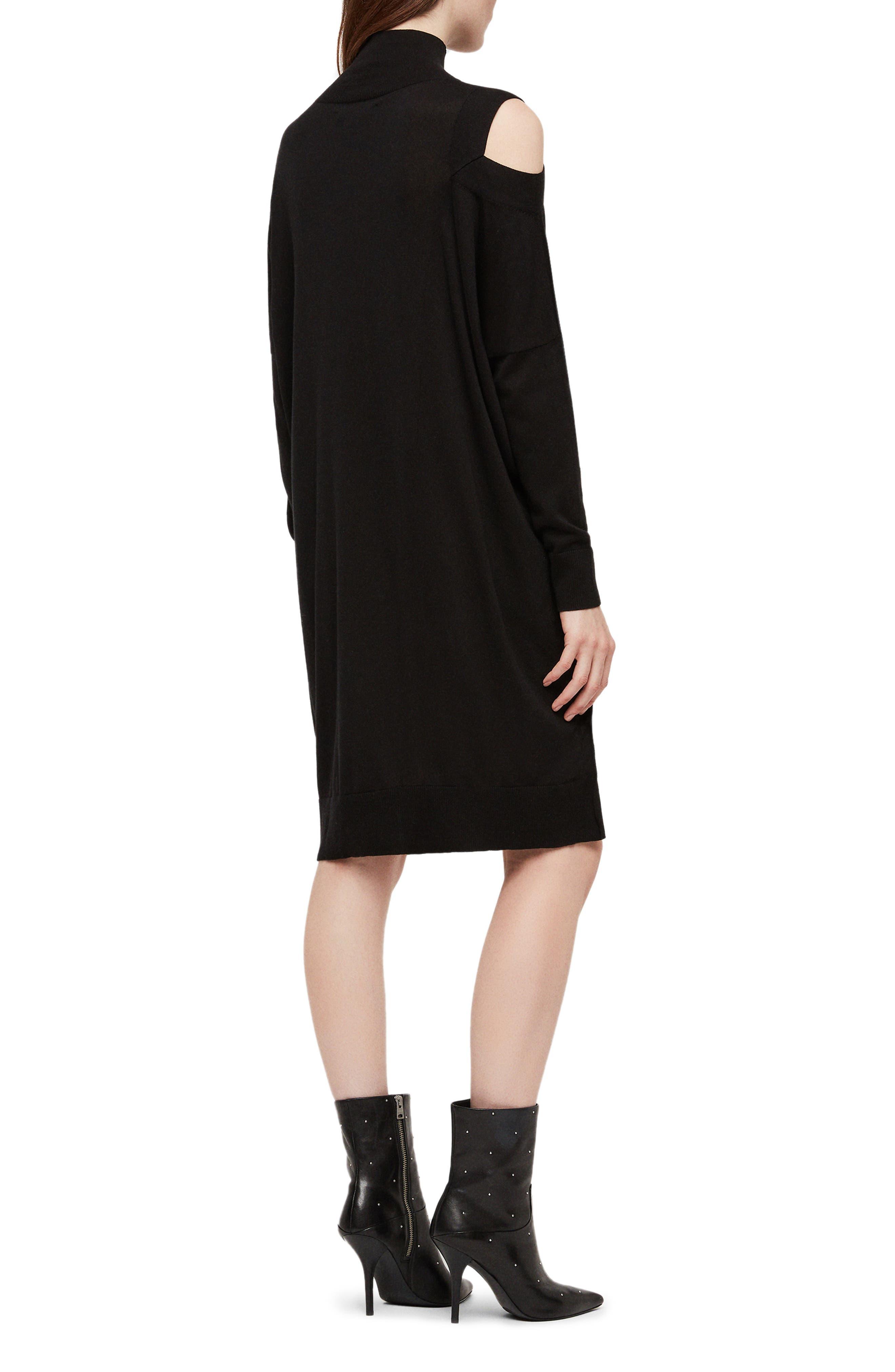 ALLSAINTS, Cecily Turtleneck Sweater Dress, Alternate thumbnail 2, color, BLACK