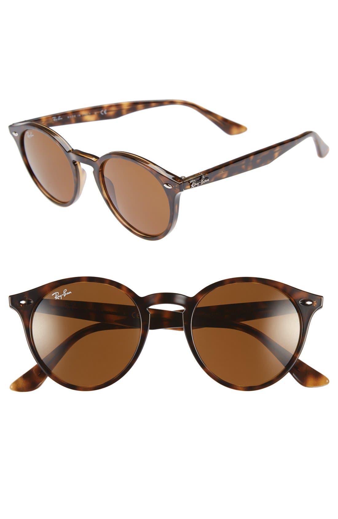 RAY-BAN, Highstreet 49mm Round Sunglasses, Main thumbnail 1, color, DARK HAVANA