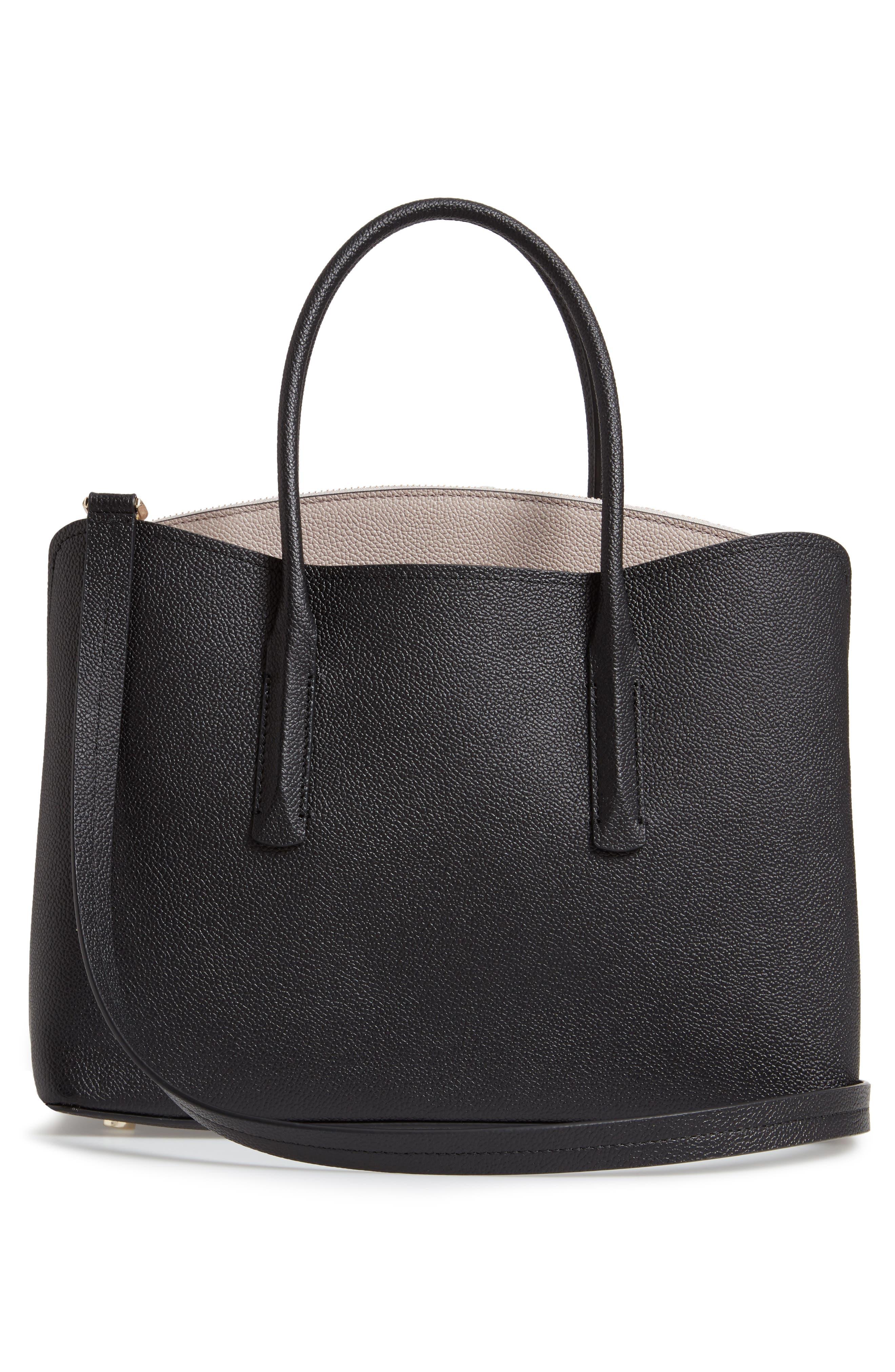 KATE SPADE NEW YORK, large margaux leather satchel, Alternate thumbnail 4, color, BLACK/ WARM TAUPE