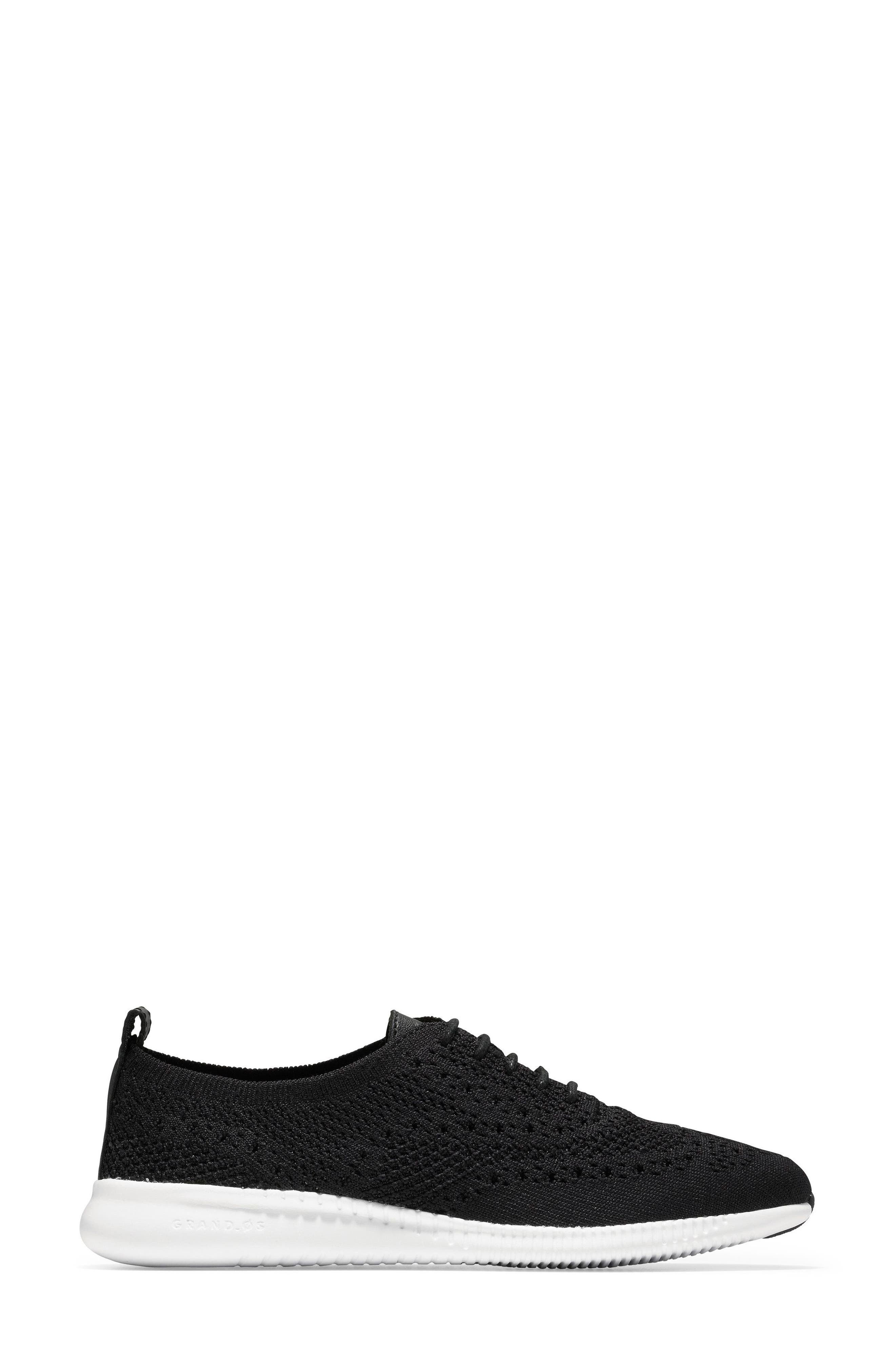 COLE HAAN, 2.ZERØGRAND Stitchlite Wingtip Sneaker, Alternate thumbnail 3, color, BLACK FABRIC