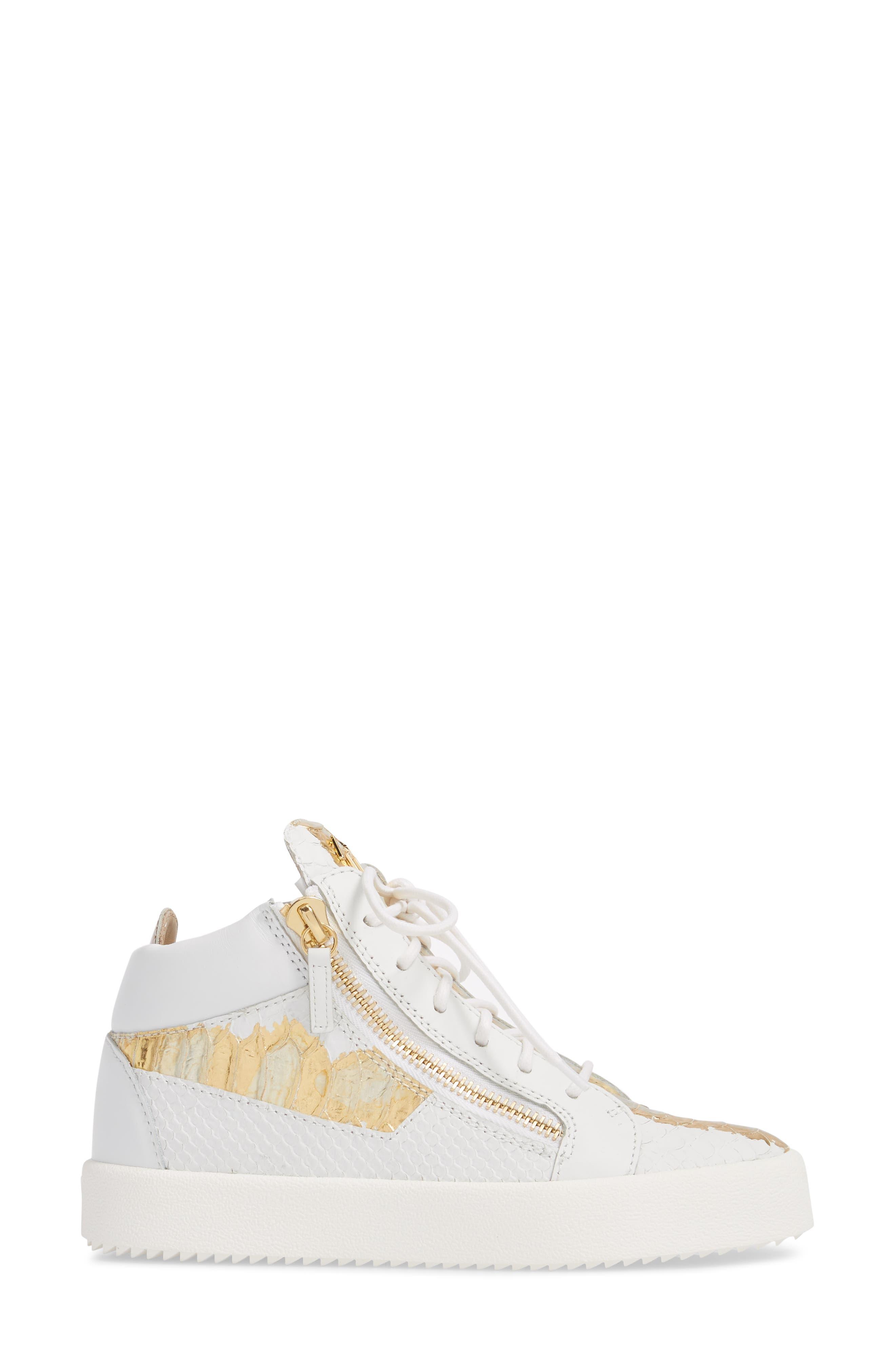 GIUSEPPE ZANOTTI, May London Mid Top Sneaker, Alternate thumbnail 3, color, WHITE/NEON YELLOW