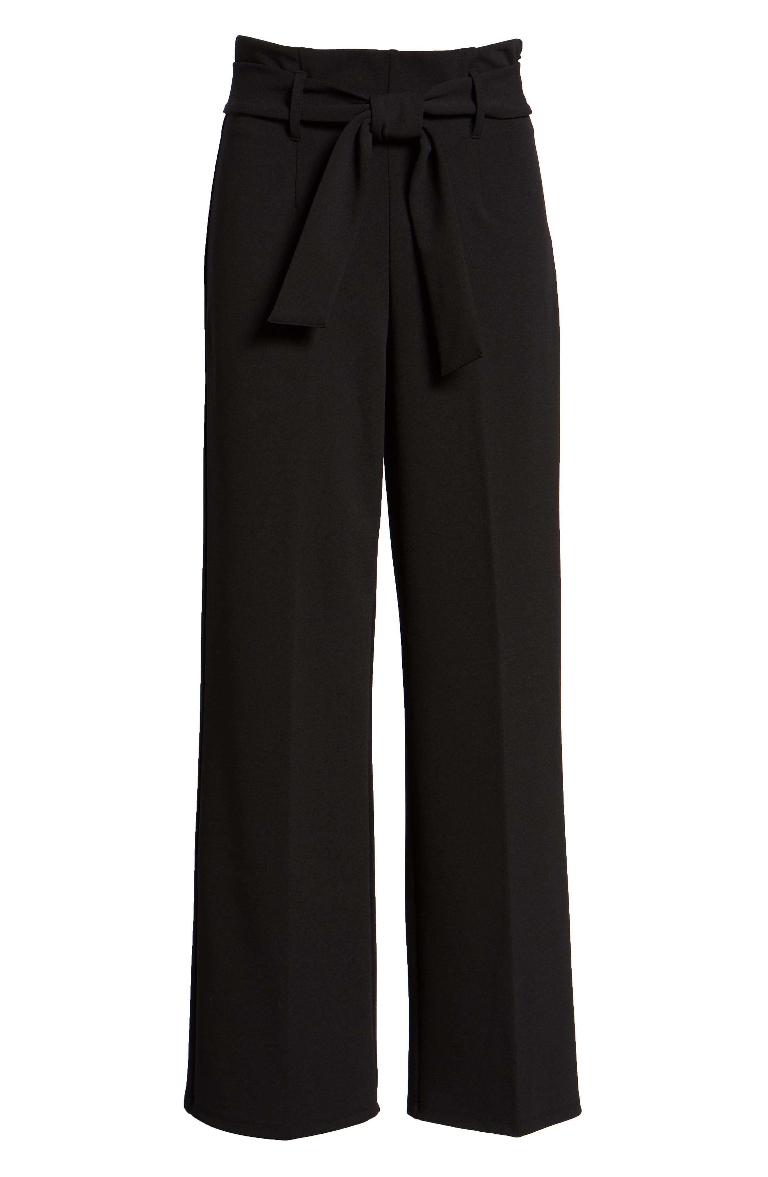LEITH, High Waist Belted Pants, Alternate thumbnail 7, color, 001