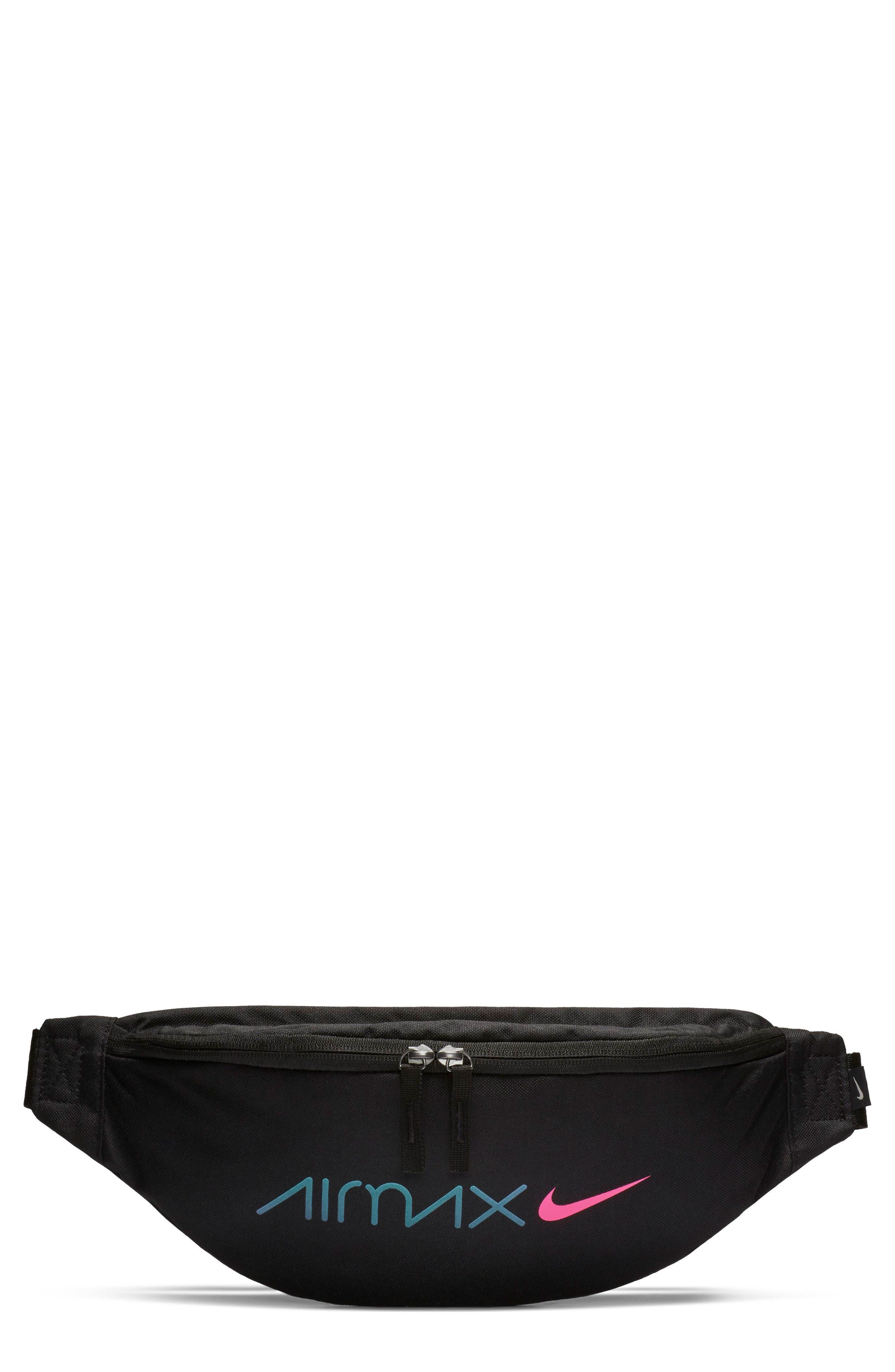 NIKE, Heritage Belt Bag, Main thumbnail 1, color, BLACK/ BLACK/ LASER FUCHSIA