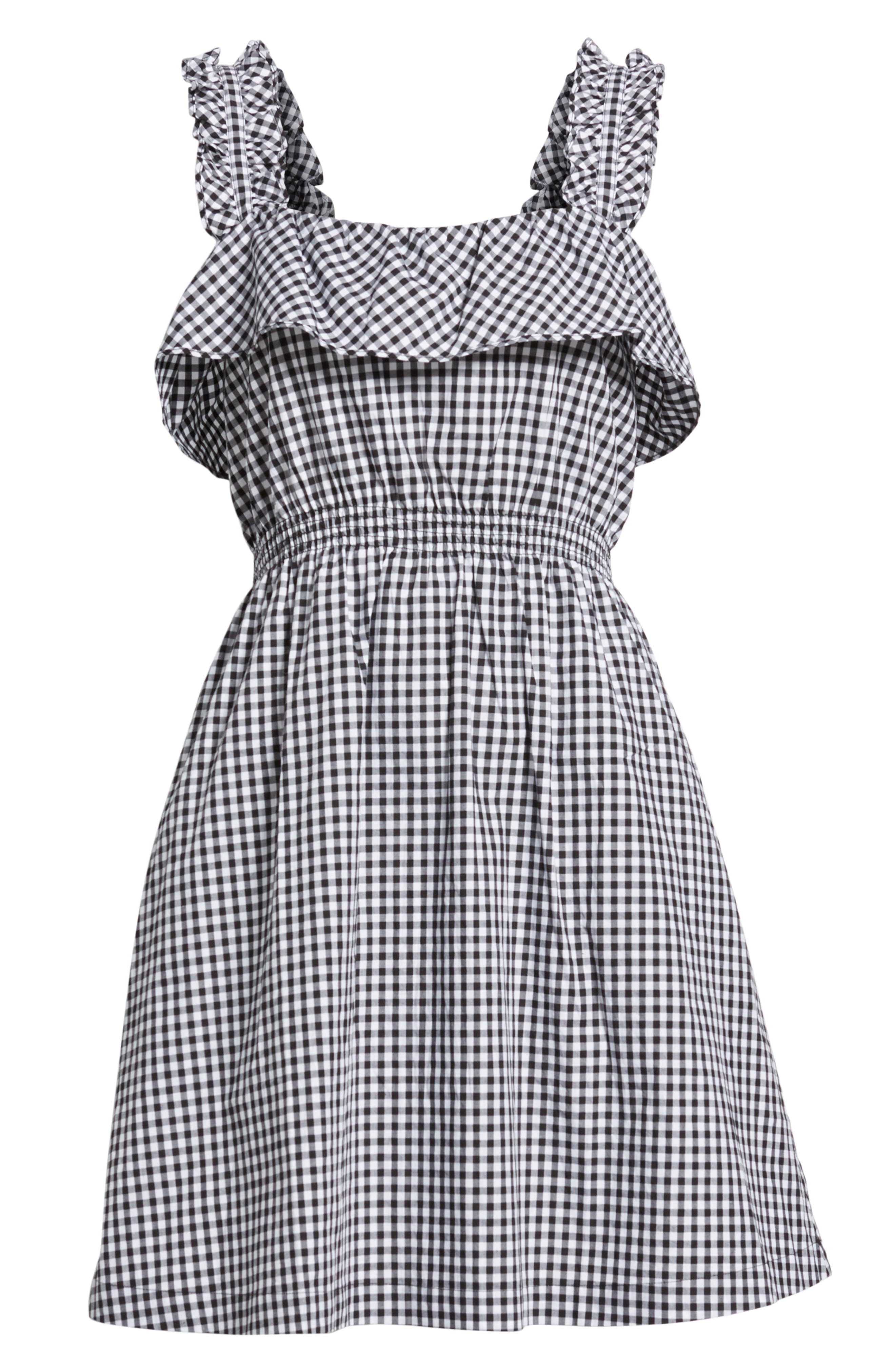 7 FOR ALL MANKIND<SUP>®</SUP>, Gingham Ruffle Dress, Alternate thumbnail 7, color, 005