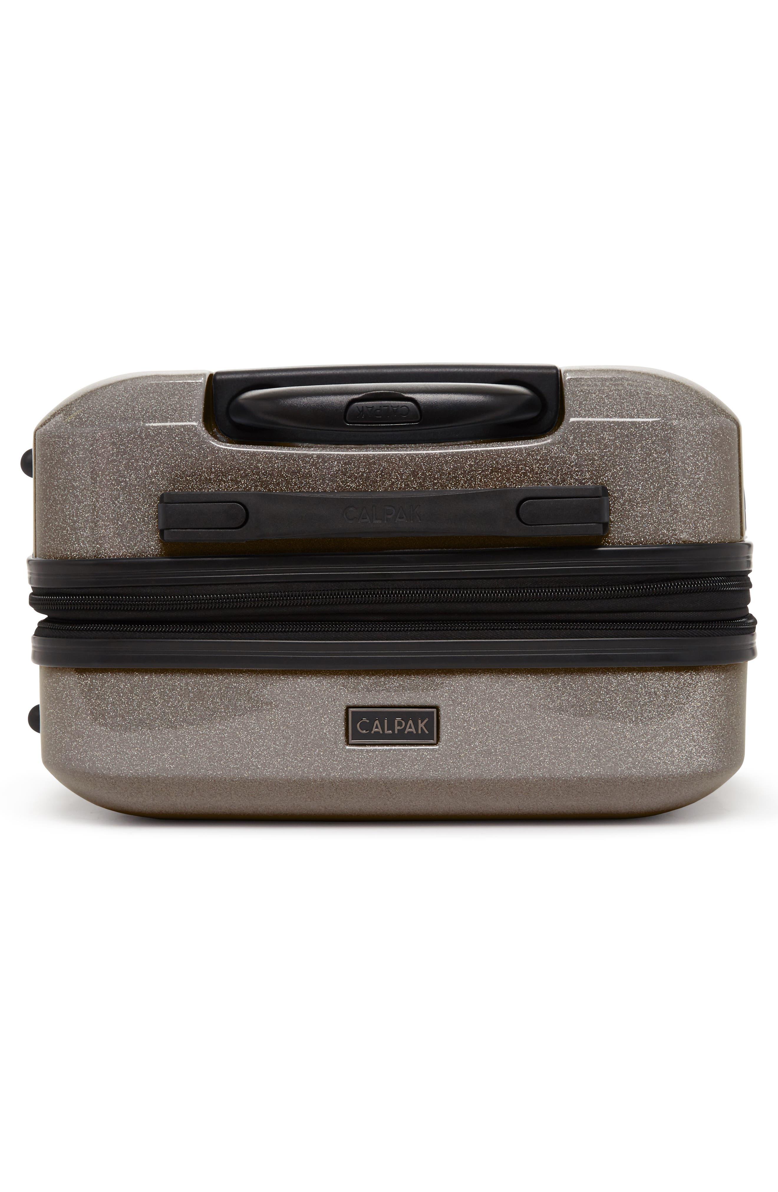 CALPAK, Medora Glitter 20-Inch Hardshell Spinner Carry-On Suitcase, Alternate thumbnail 5, color, ECLIPSE