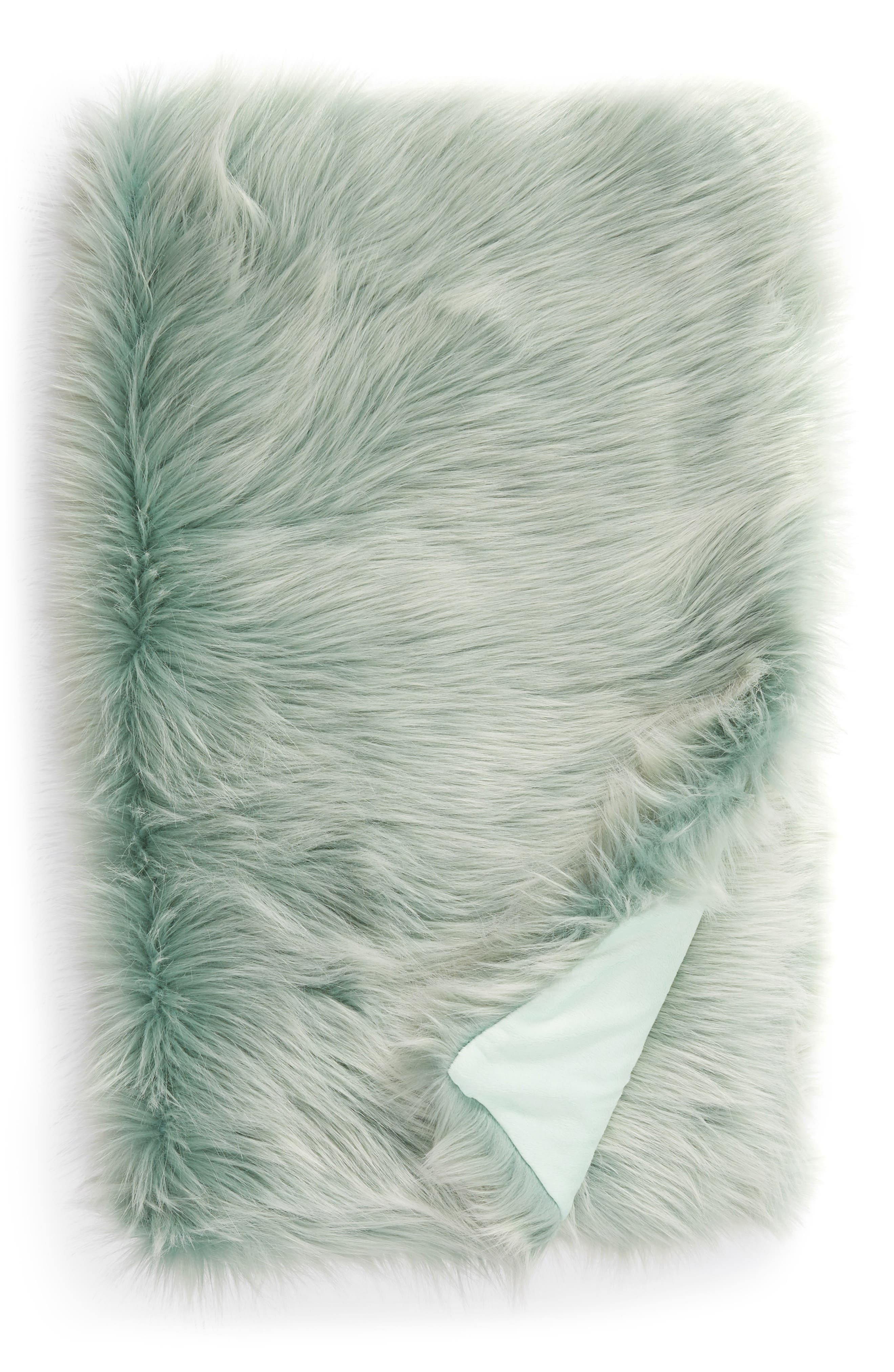 NORDSTROM AT HOME, Faux Fur Throw, Main thumbnail 1, color, TEAL STEAM