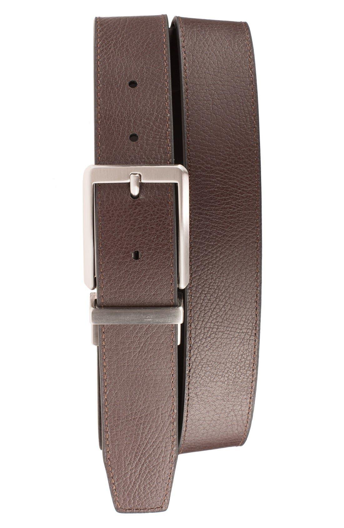 NIKE, 'Core' Reversible Leather Belt, Alternate thumbnail 2, color, BLACK/ BROWN