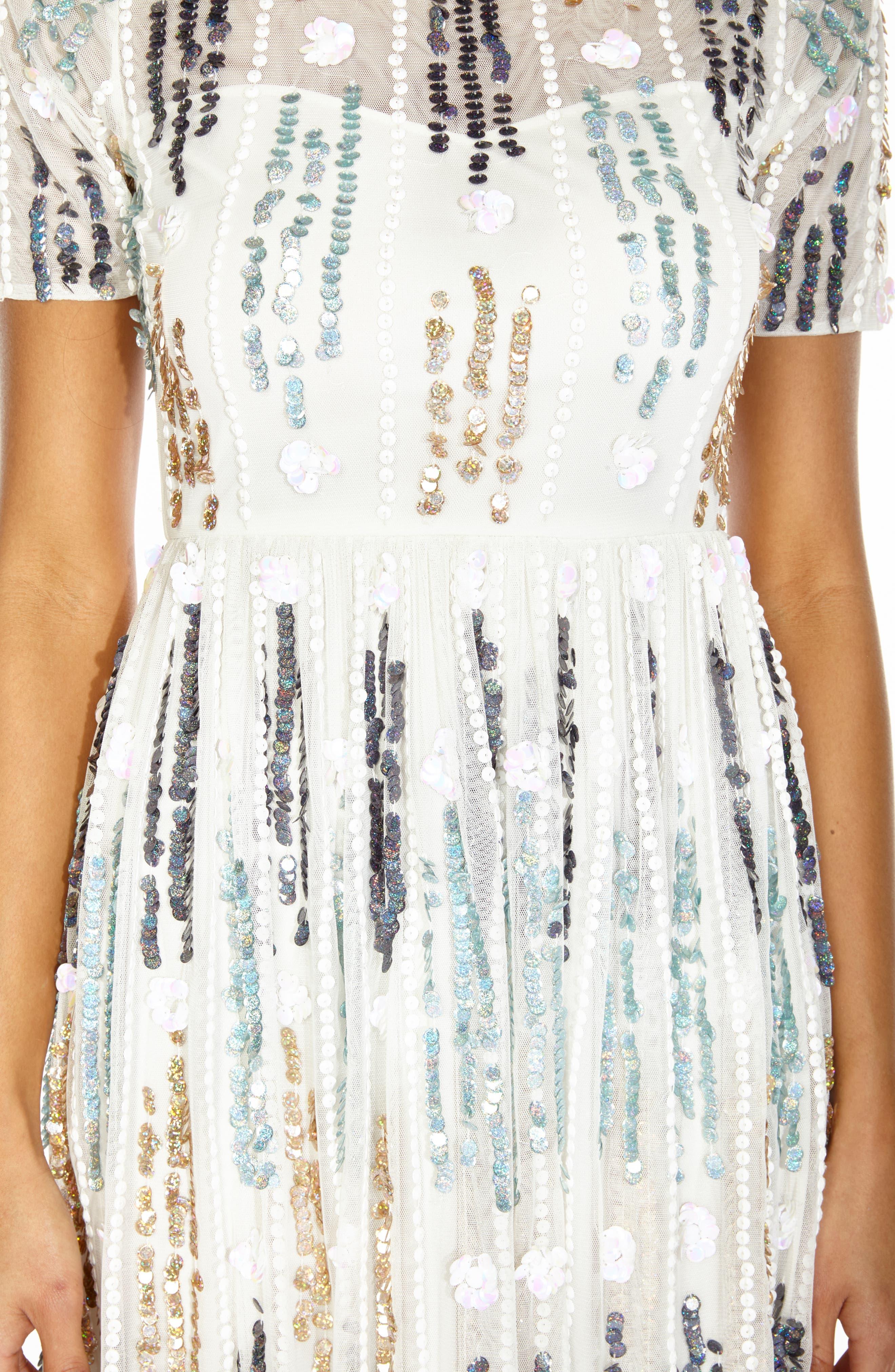 LACE & BEADS, Crichet Sequin Midi Dress, Alternate thumbnail 3, color, 100